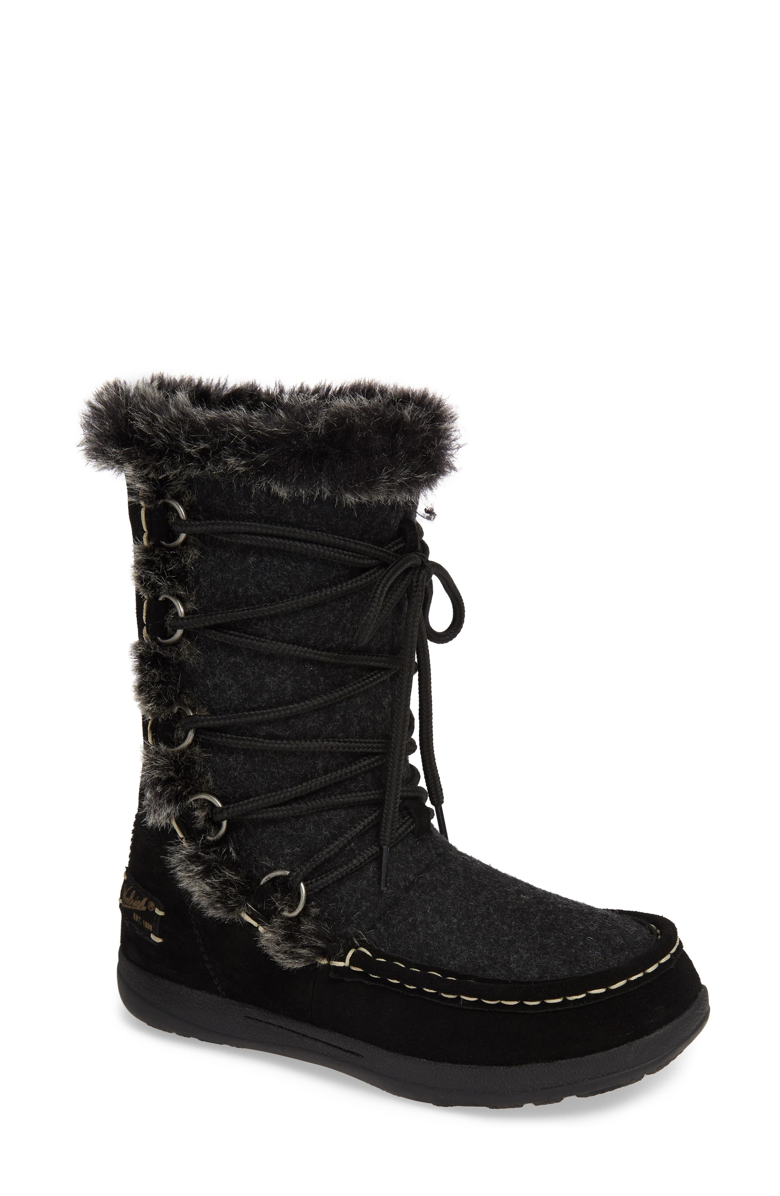 Lace Up Bootie,                             Main thumbnail 1, color,                             BLACK WOOL