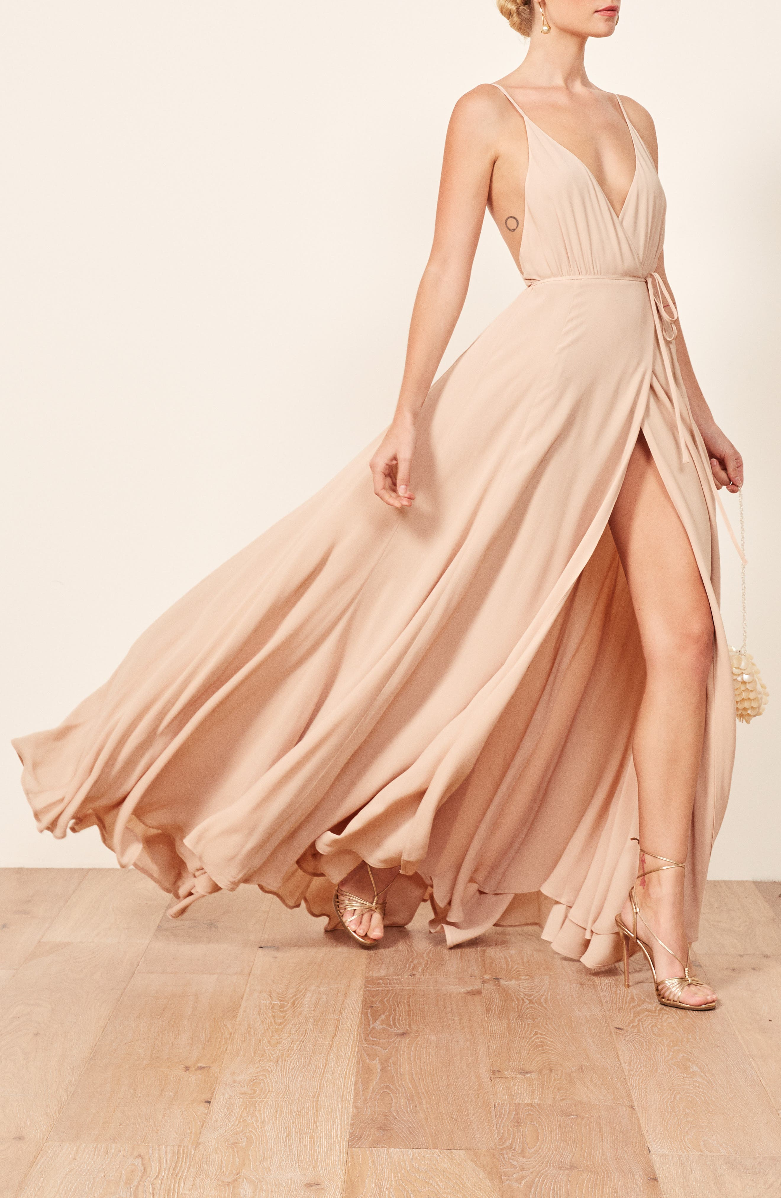 Calalilly Maxi Dress,                             Alternate thumbnail 3, color,                             CHAMPAGNE