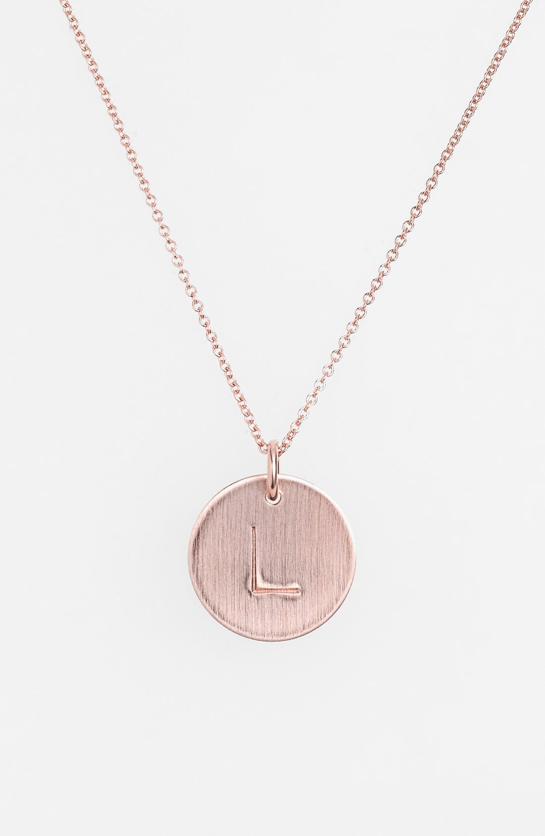 14k-Rose Gold Fill Initial Disc Necklace,                             Main thumbnail 12, color,