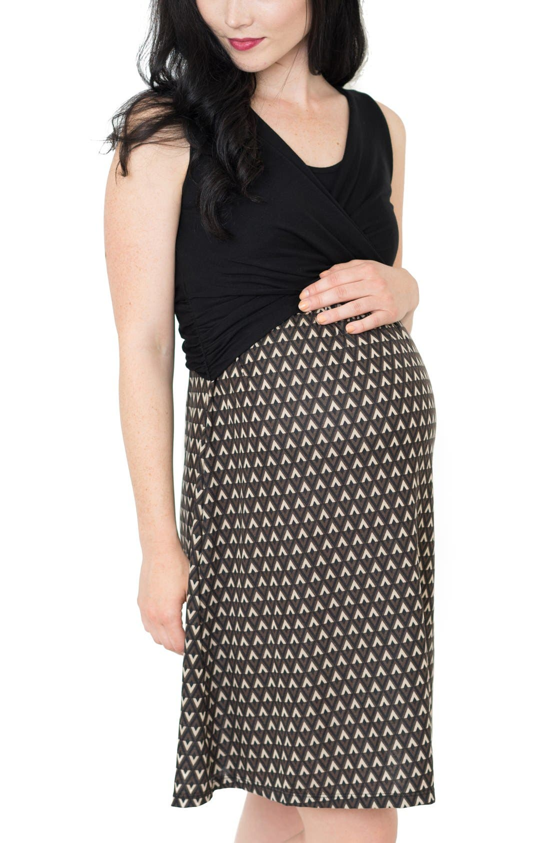 'Lela' Nursing Maternity Dress,                             Main thumbnail 1, color,                             BLACK TRIANGLE PRINT
