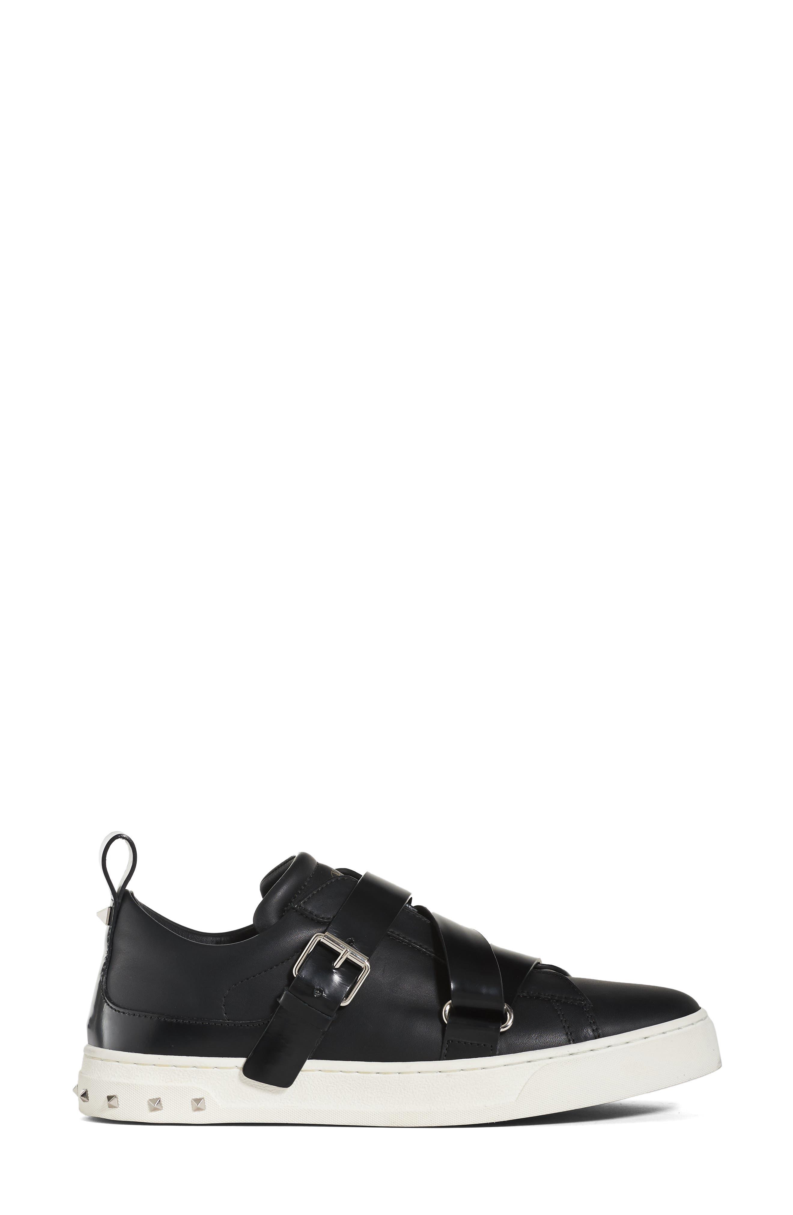 Rockstud Strappy Sneaker,                             Alternate thumbnail 3, color,                             001