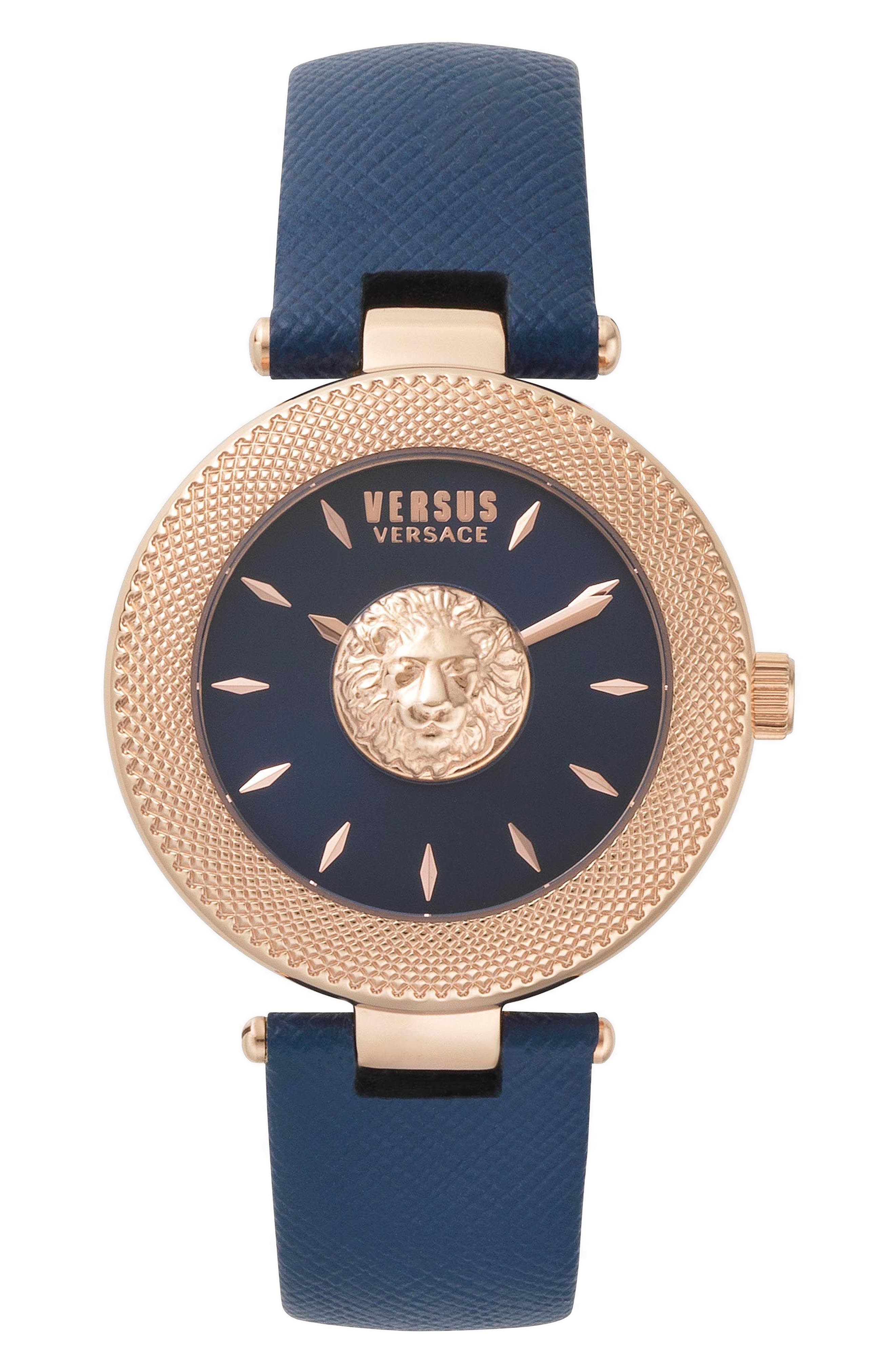 Brick Lane Leather Strap Watch, 40mm,                         Main,                         color, BLUE/ ROSE GOLD