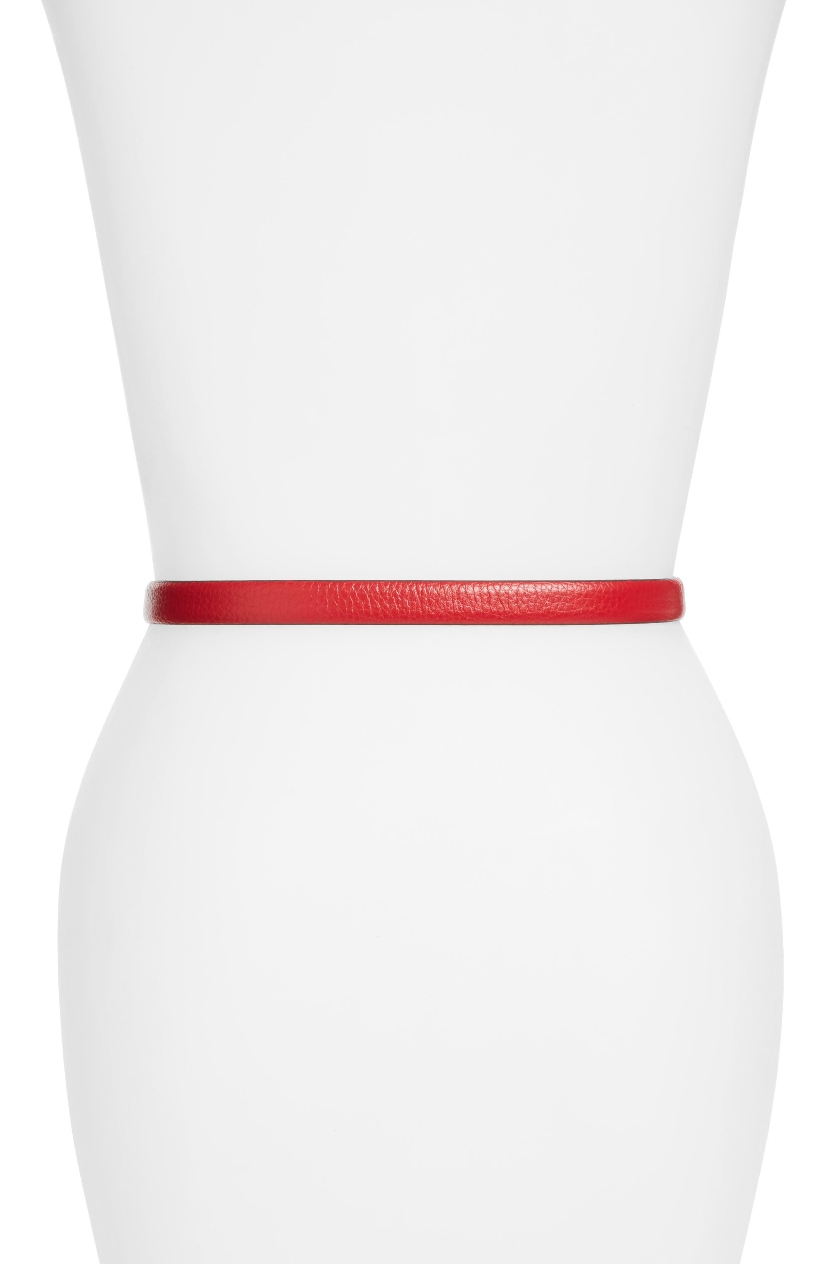 Logo Leather Skinny Belt,                             Alternate thumbnail 2, color,                             RED
