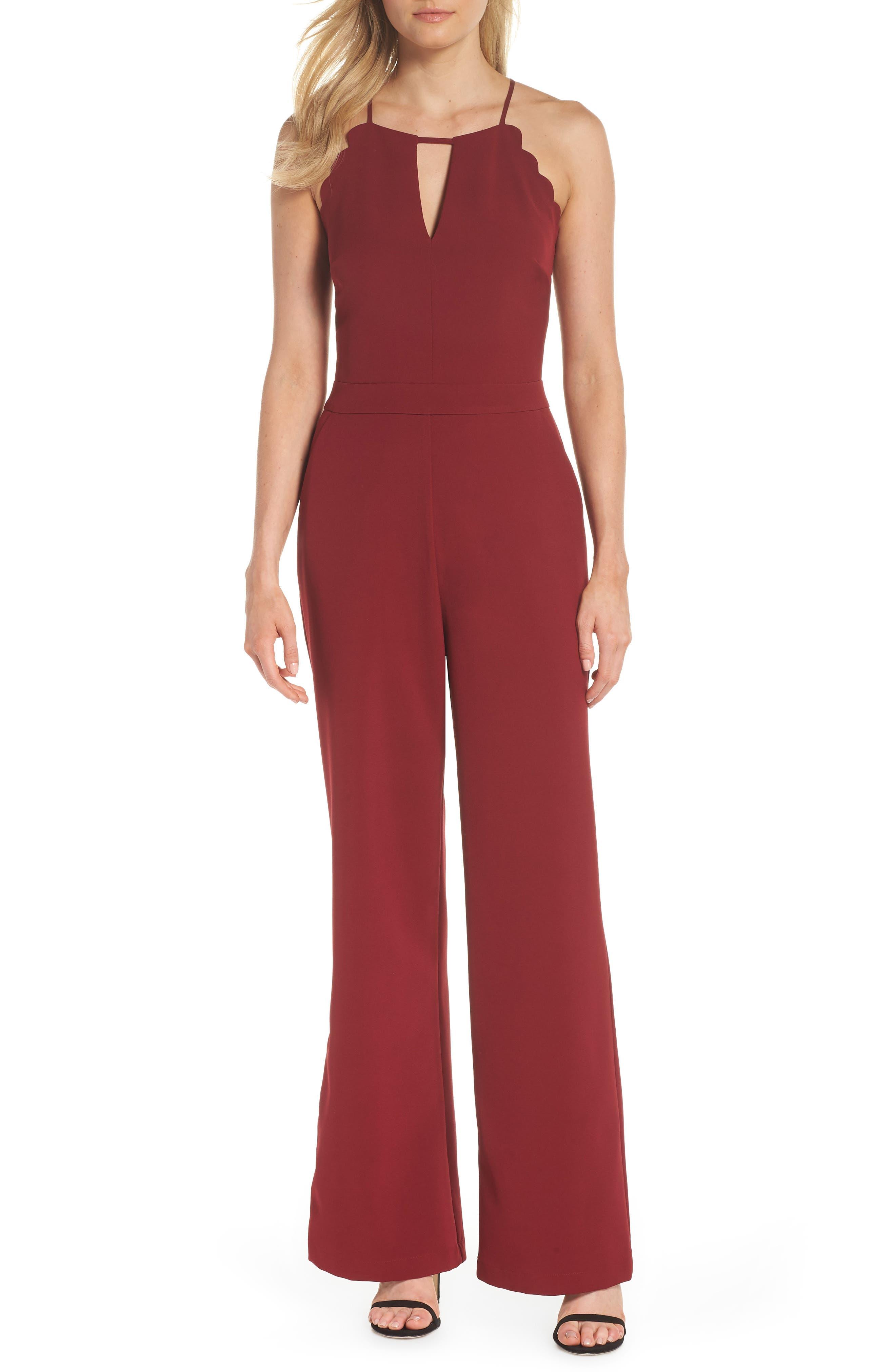 Denise Halter Jumpsuit,                         Main,                         color, BULL RED