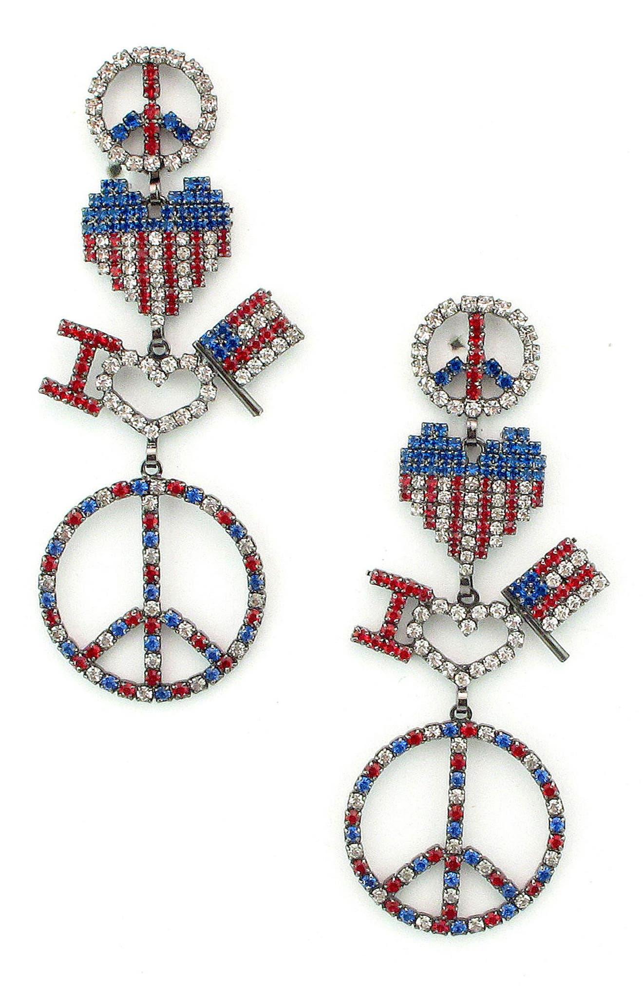 Liberty Drop Earrings,                         Main,                         color, PATRIOTIC