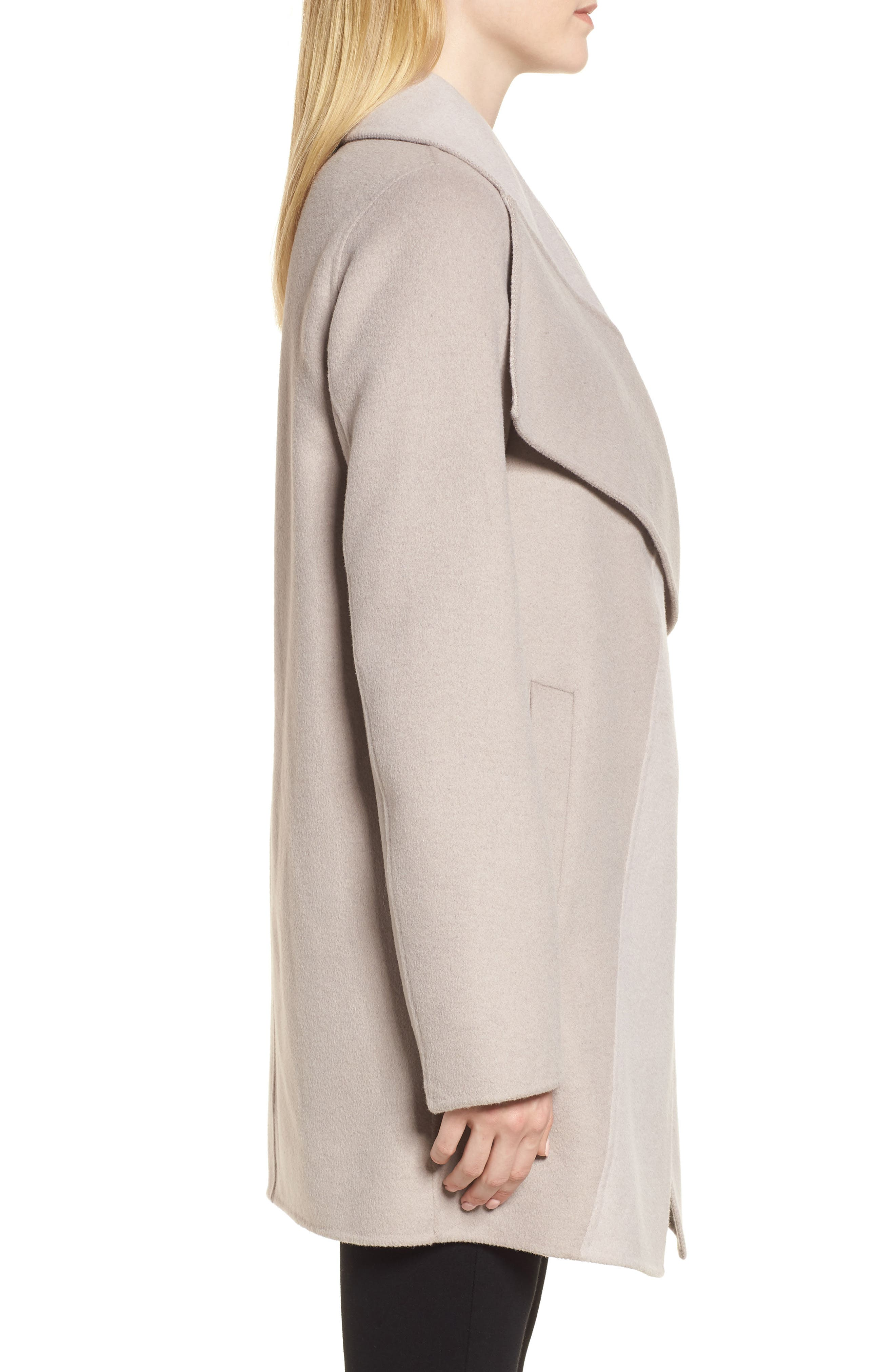 Nicky Double Face Wool Blend Oversize Coat,                             Alternate thumbnail 3, color,                             OYSTER BAY/ BROWN SUGAR