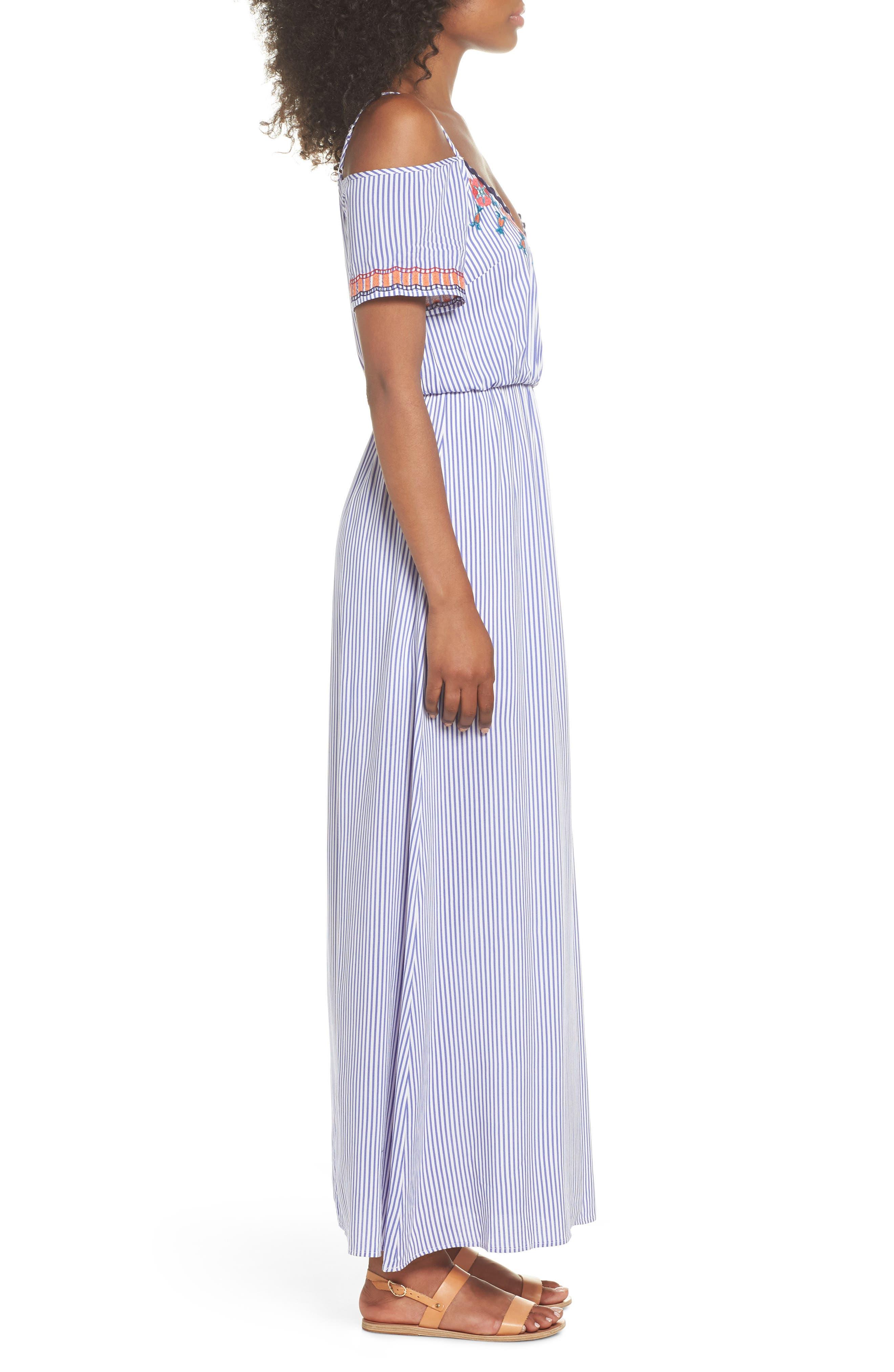 Stripe Cold Shoulder Maxi Dress,                             Alternate thumbnail 3, color,                             400