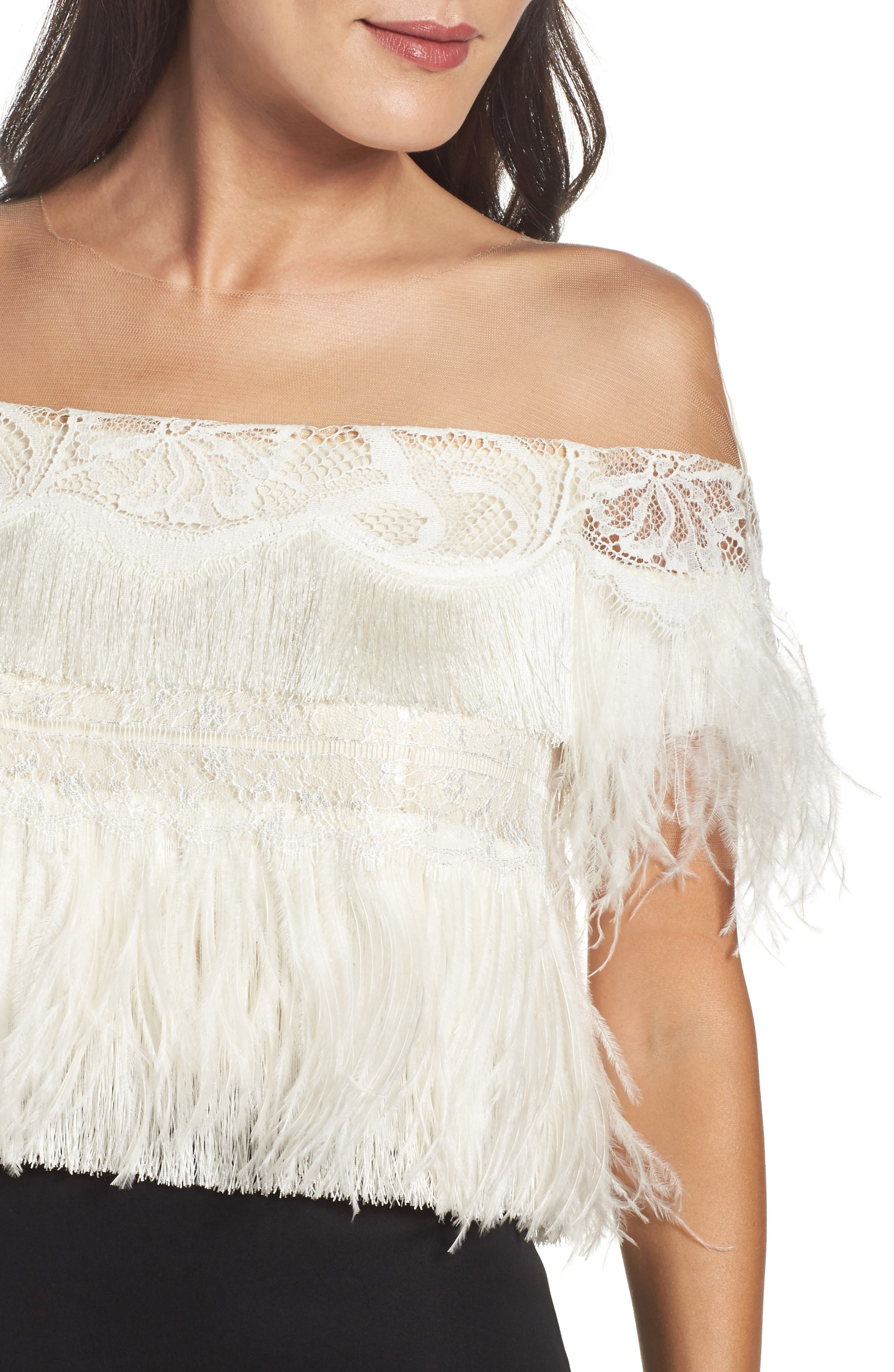 Off the Shoulder Ostrich Feather Gown,                             Alternate thumbnail 4, color,                             007