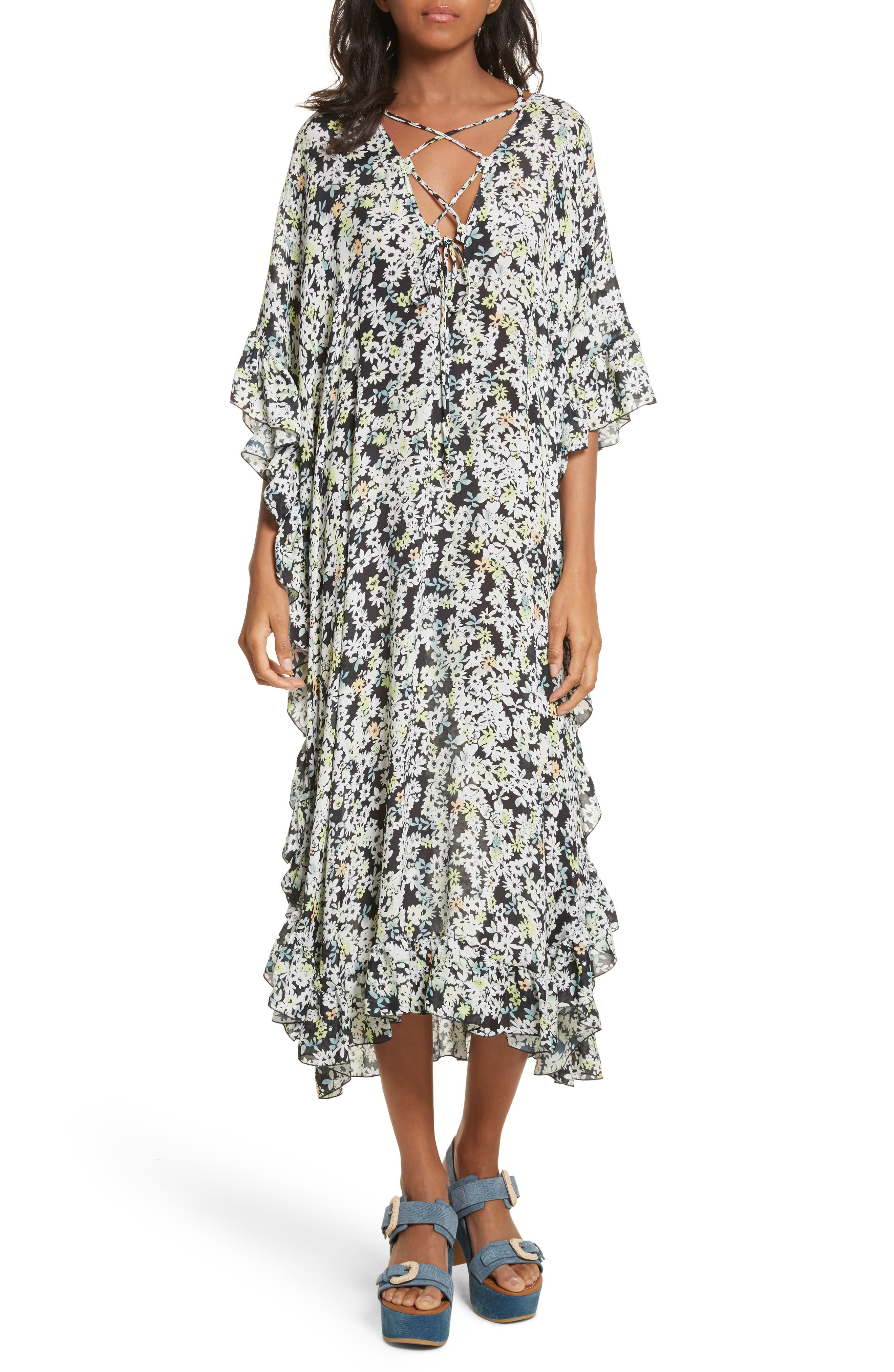 SEE BY CHLOÉ,                             Floral Print Flutter Edge Dress,                             Main thumbnail 1, color,                             021