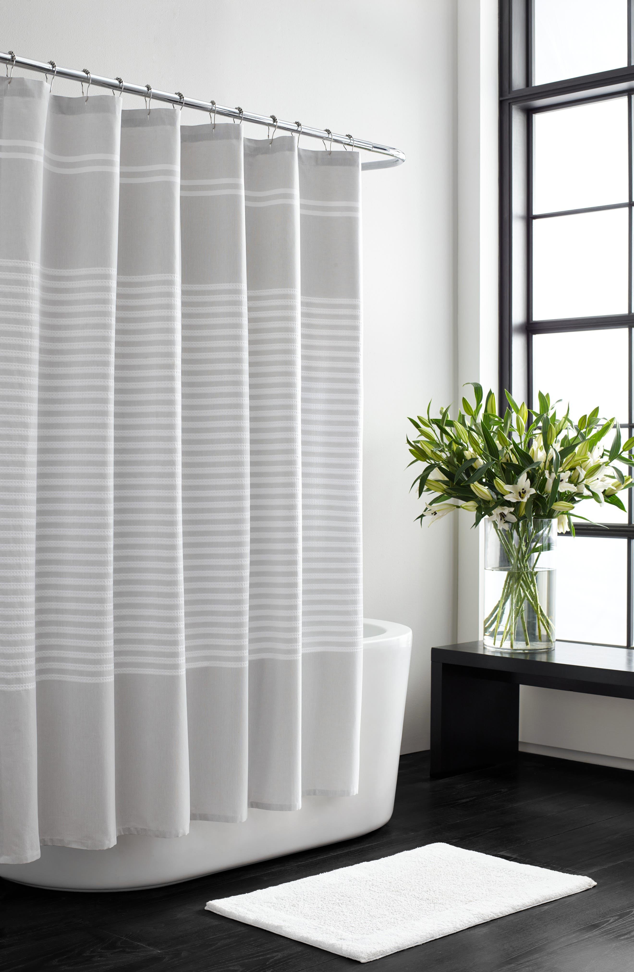 VERA WANG,                             Seersucker Stripe Shower Curtain,                             Main thumbnail 1, color,                             AQUARMARINE/ WHITE