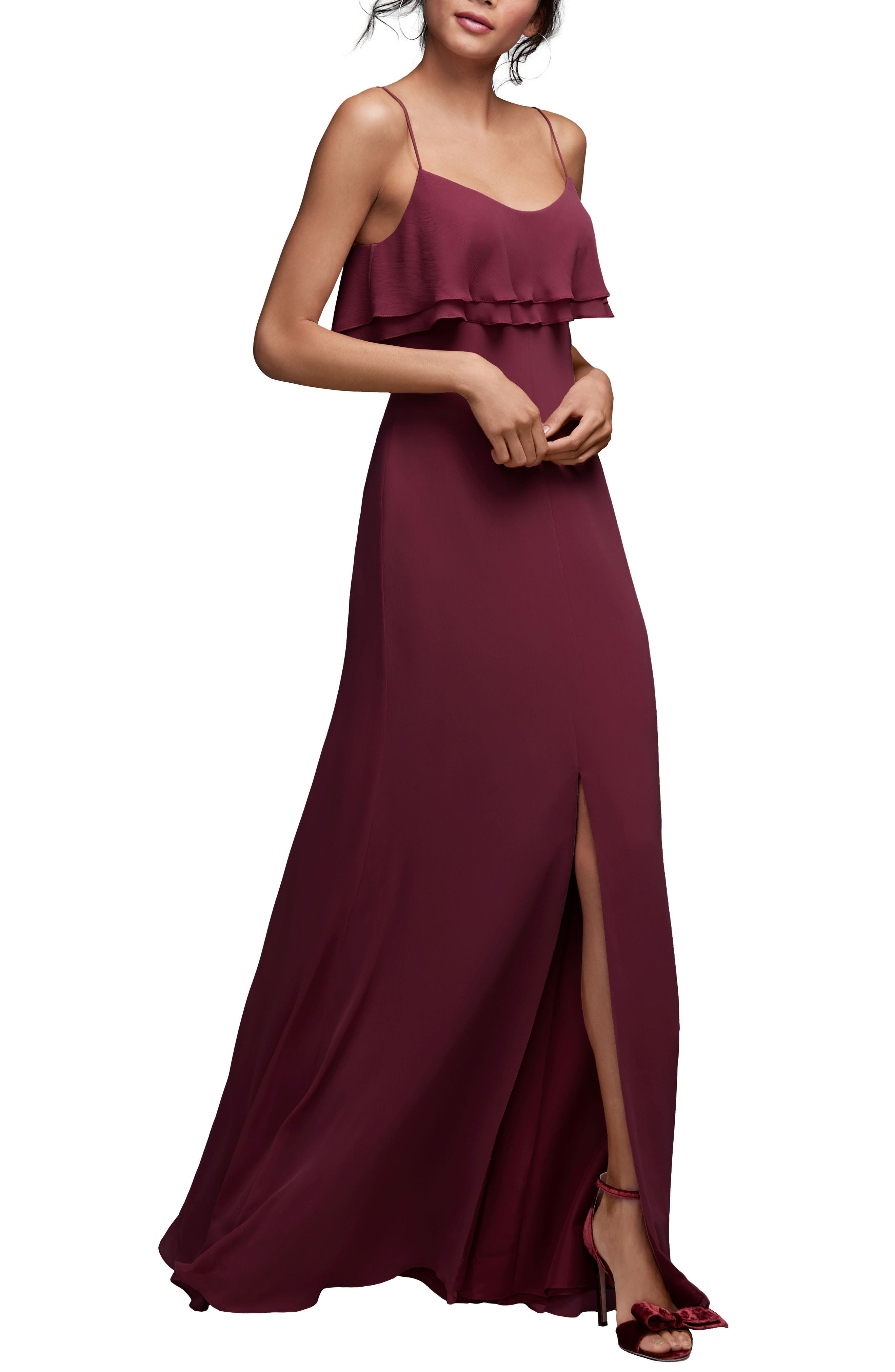 Jasper Ruffle Popover Gown,                             Main thumbnail 1, color,                             WINE