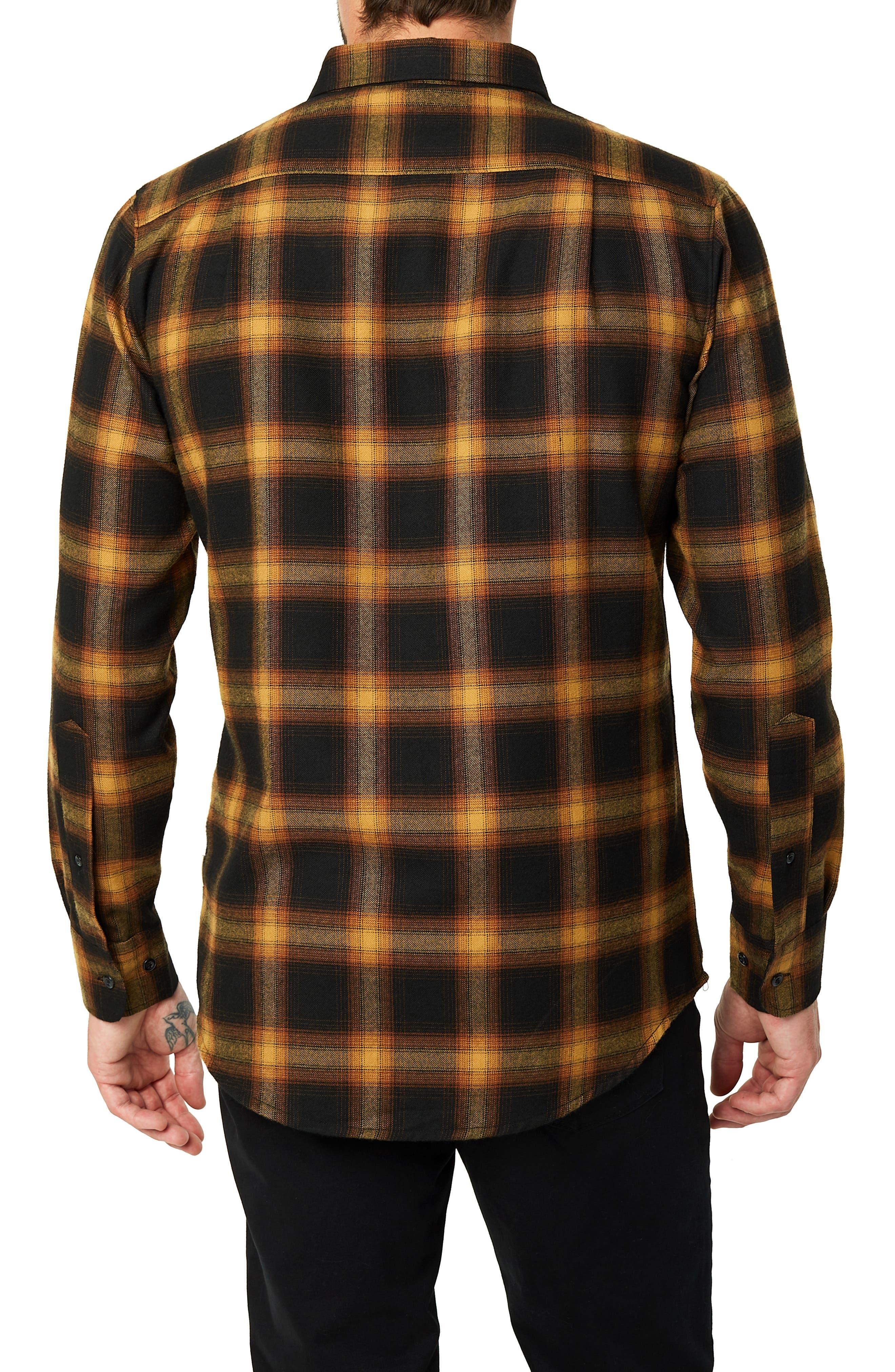 Banyan Trim Fit Plaid Sport Shirt,                             Alternate thumbnail 3, color,                             BLACK MUST