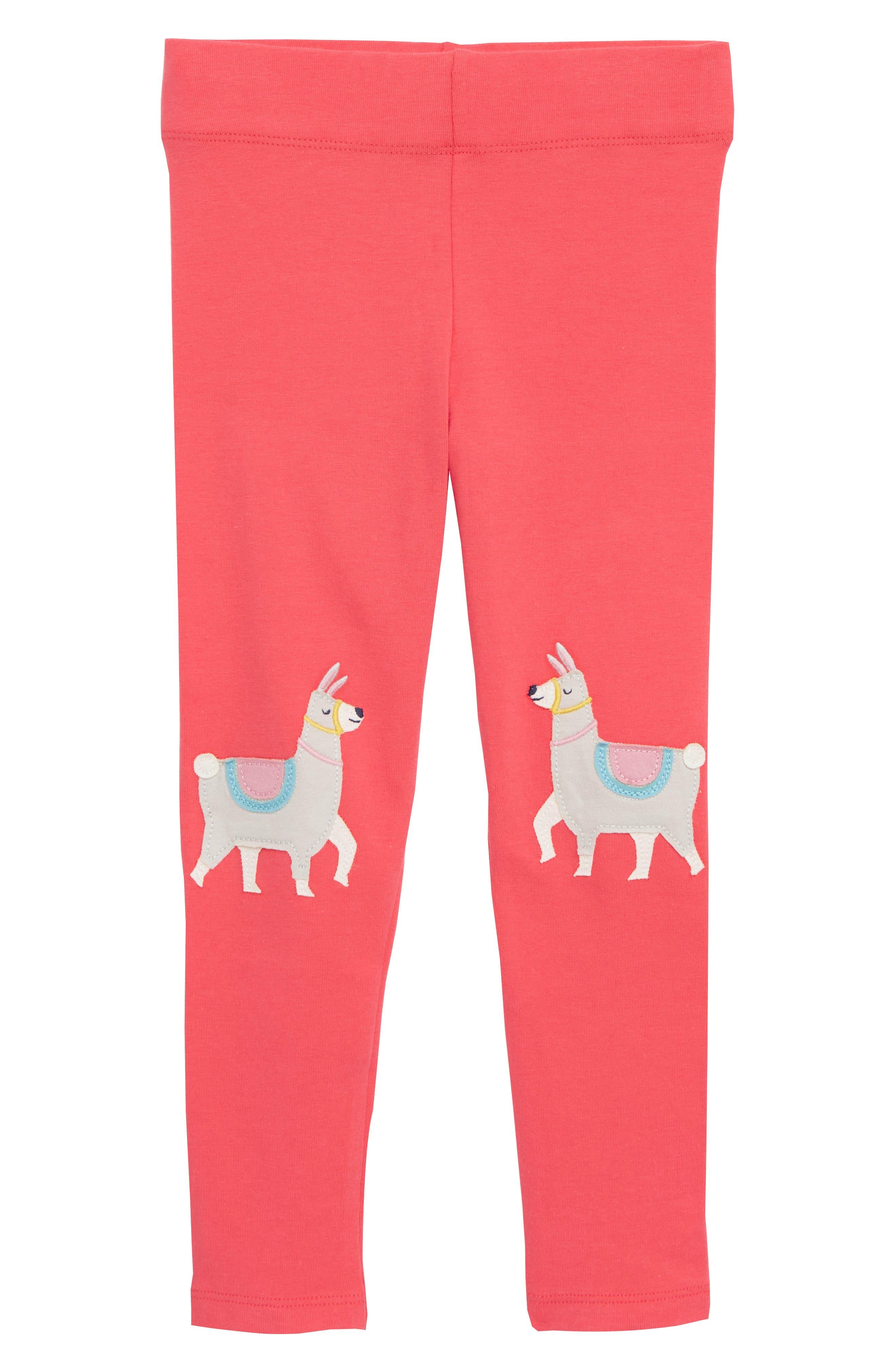 Toddler Girls Mini Boden Applique Leggings Size 34Y  Pink