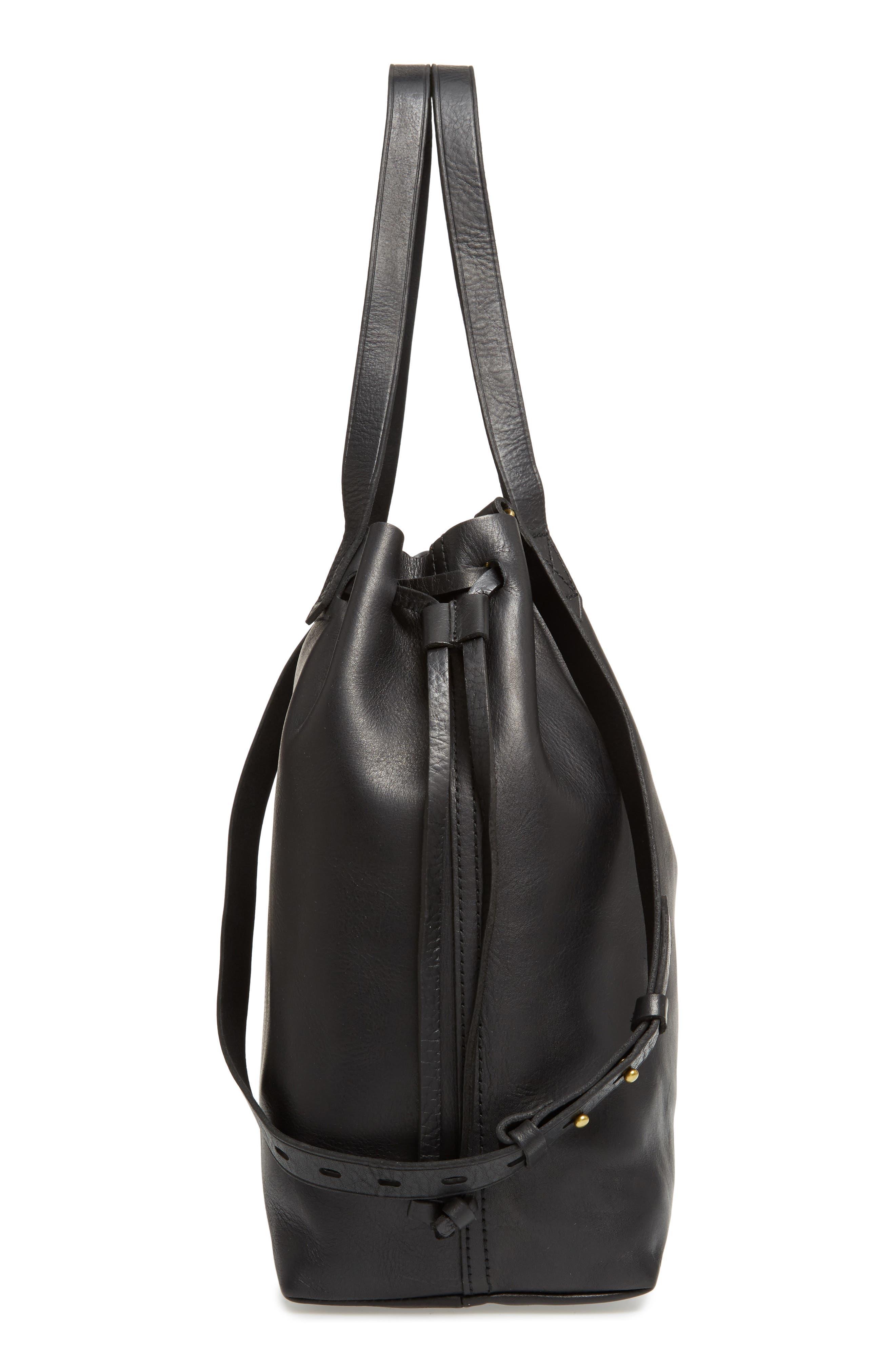 Medium Drawstring Transport Leather Tote,                             Alternate thumbnail 5, color,                             TRUE BLACK