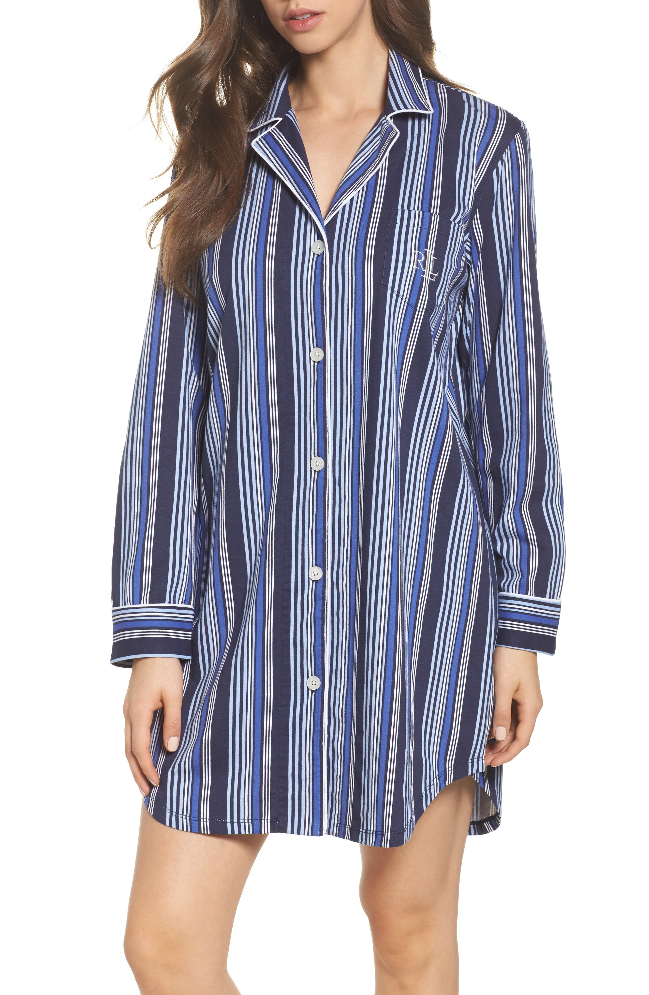 Stripe Sleep Shirt,                             Main thumbnail 1, color,                             486