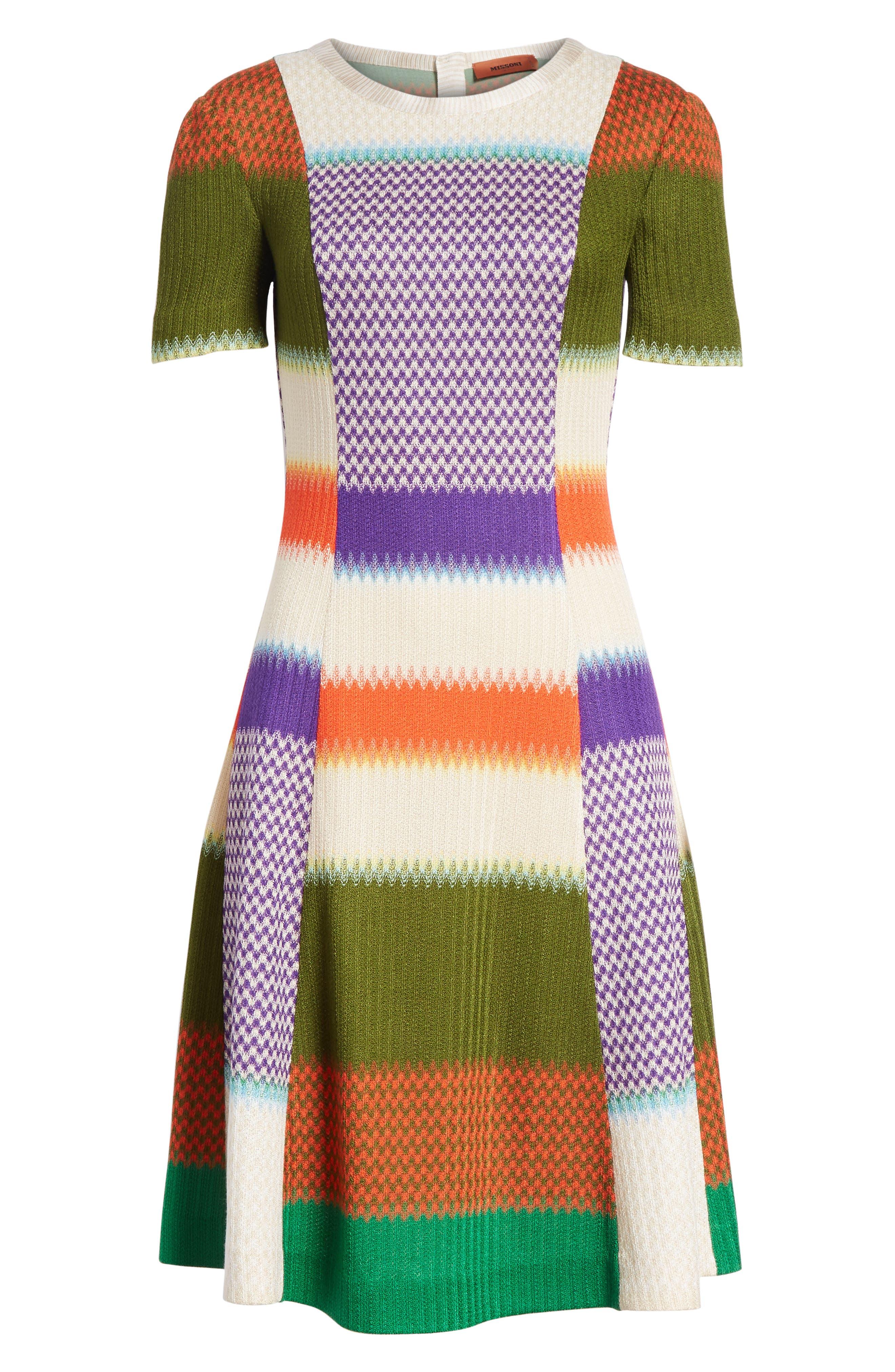 Multi Knit Flare Dress,                             Alternate thumbnail 6, color,                             540