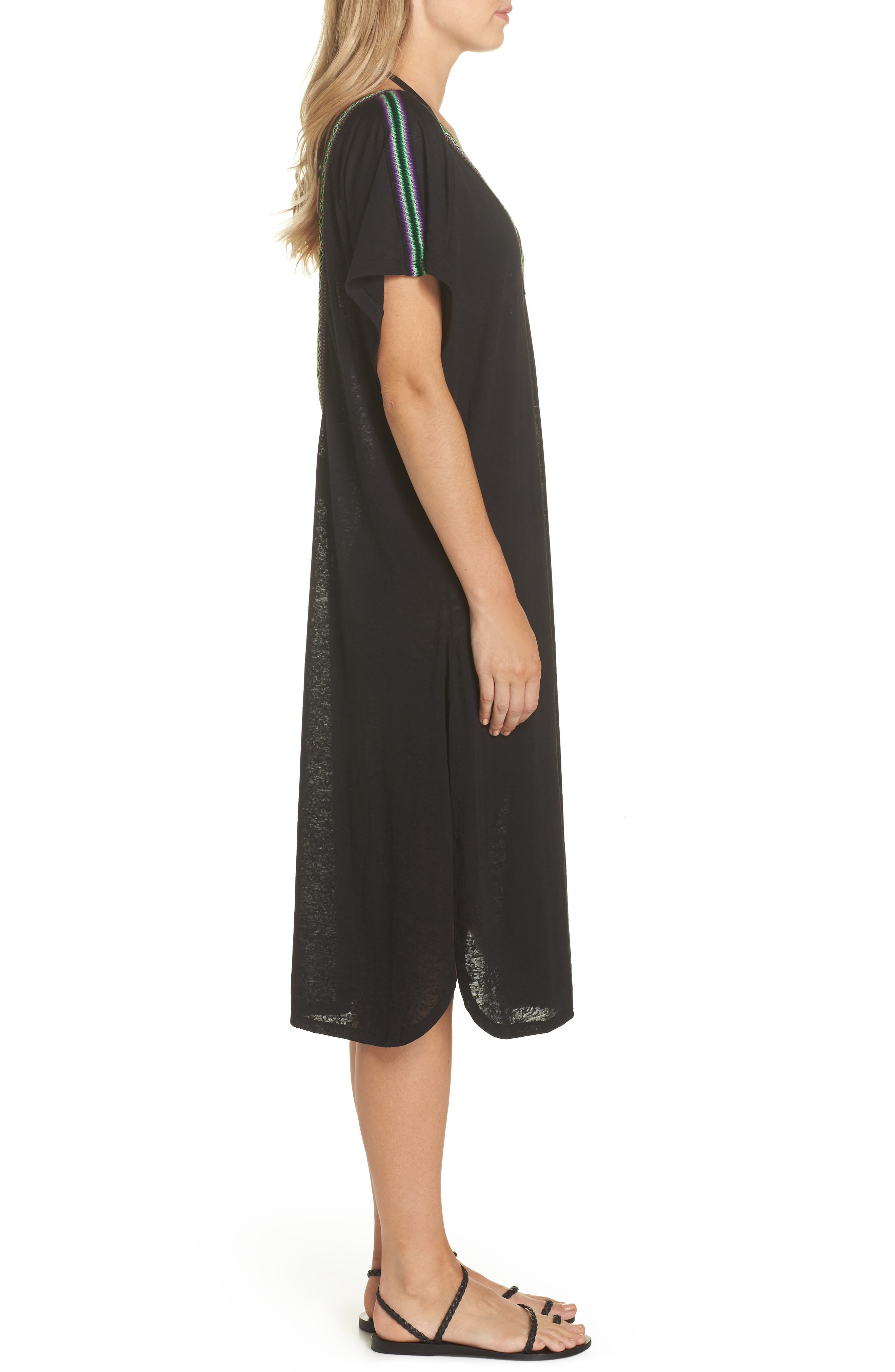 Cover-Up Midi Dress,                             Alternate thumbnail 3, color,                             001