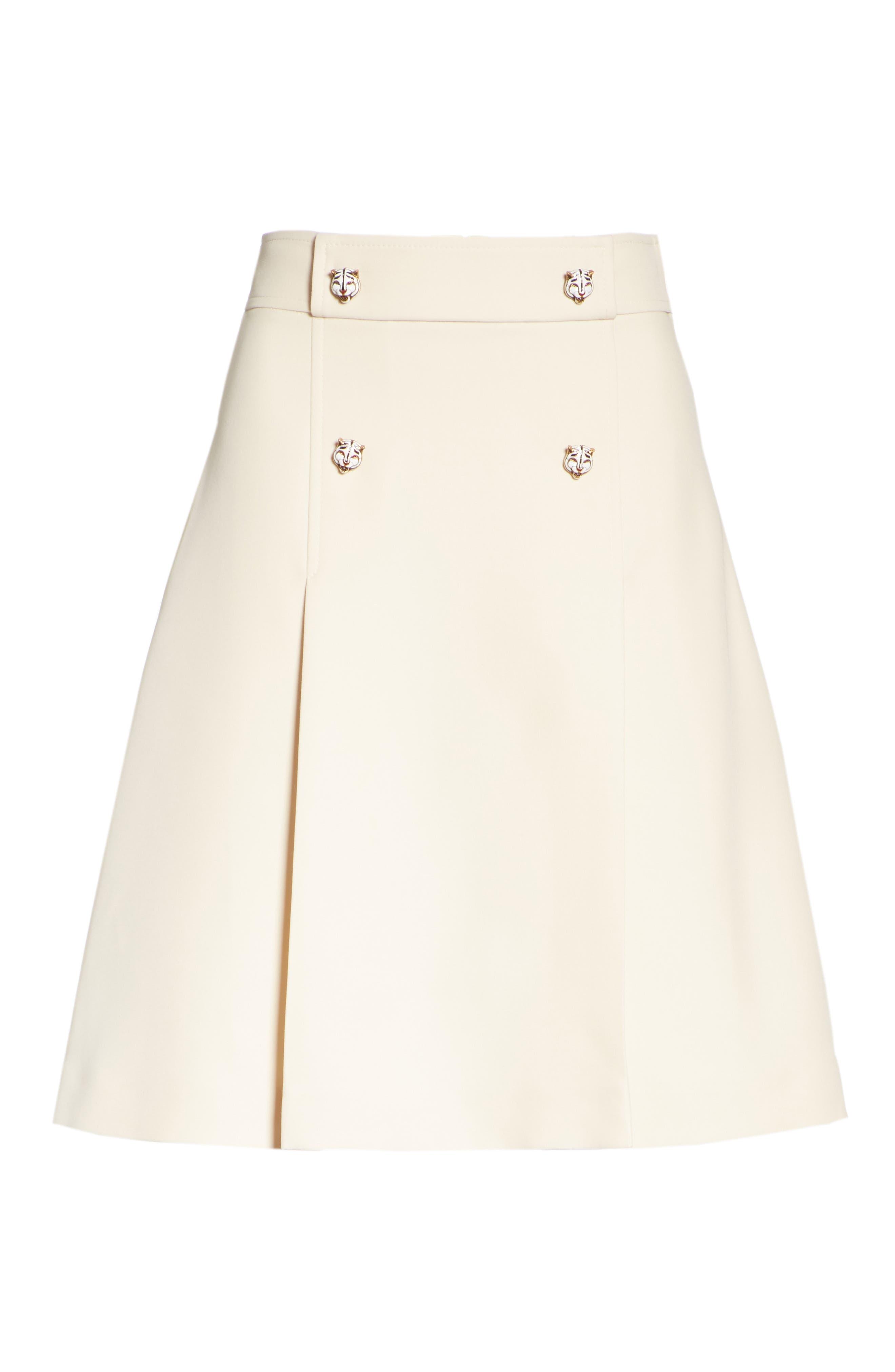 Tiger Button Wool & Silk Crepe A-Line Skirt,                             Alternate thumbnail 4, color,                             GARDENIA