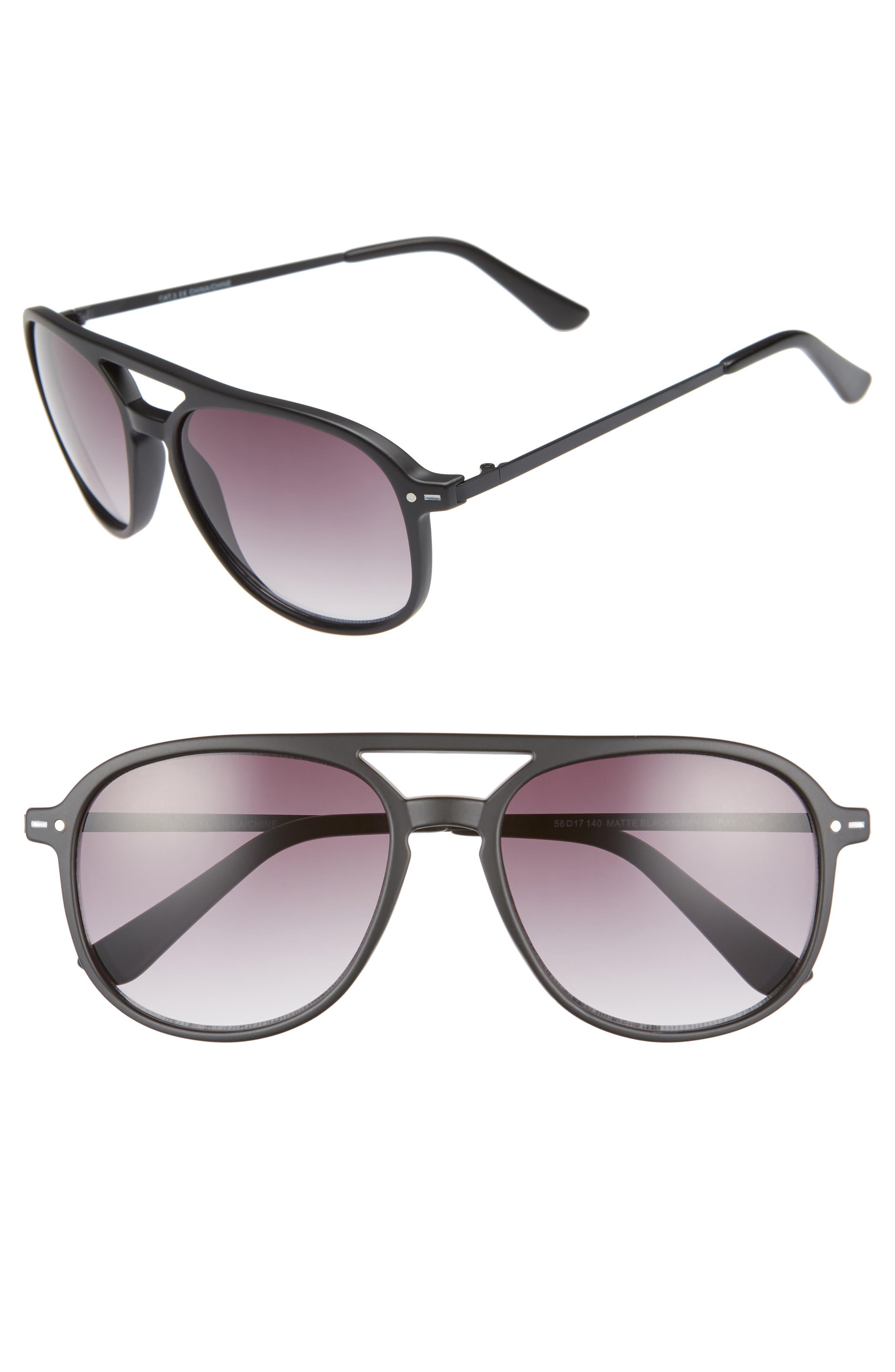Preston 56mm Aviator Sunglasses,                         Main,                         color, MATTE BLACK/ GREY OMBRE