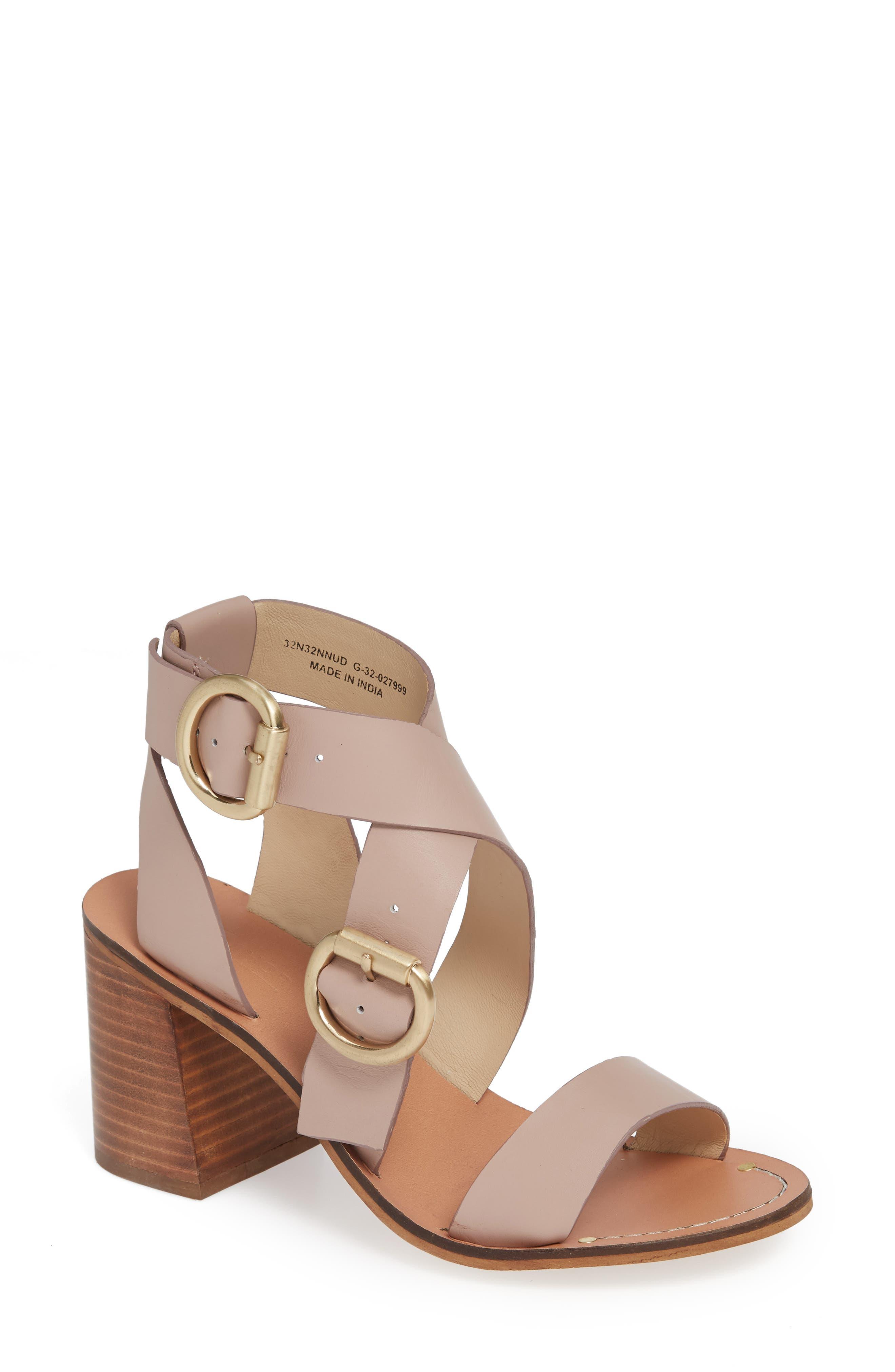 Natalie Buckled Cross Strap Sandal,                         Main,                         color,