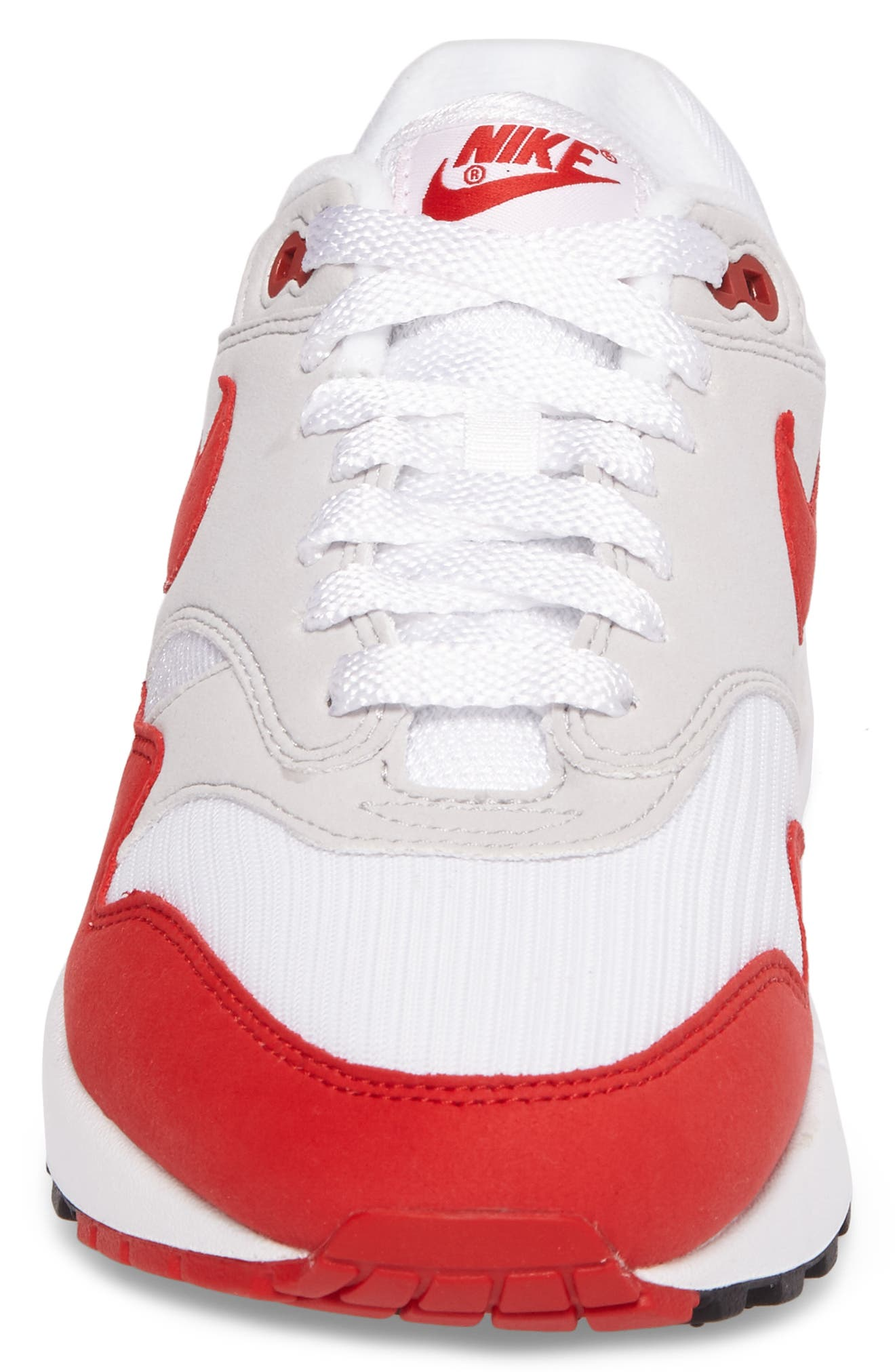 Air Max 1 Anniversary Sneaker,                             Alternate thumbnail 4, color,                             WHITE/ RED/ GREY/ BLACK