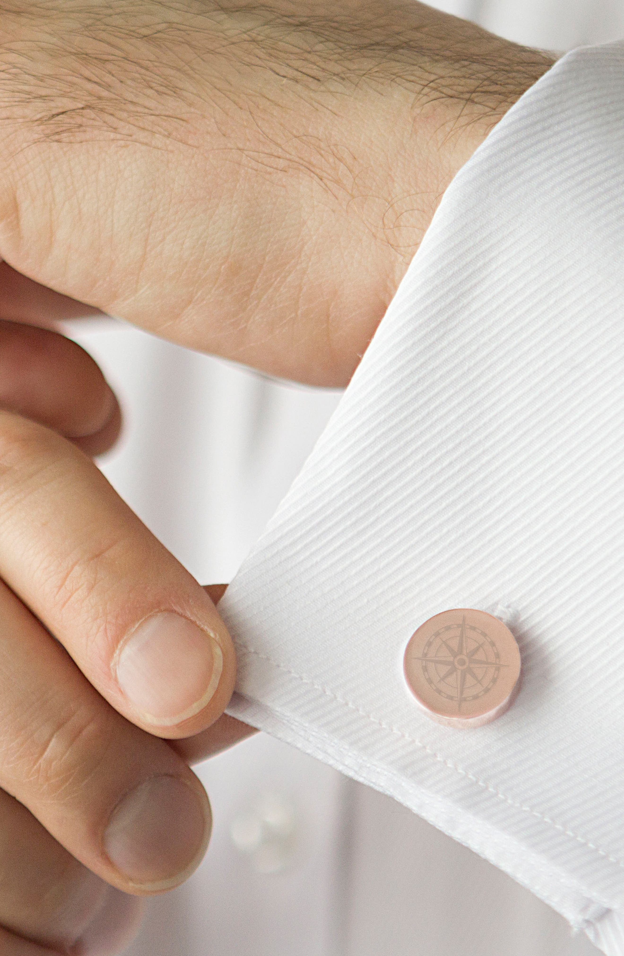 Compass Cuff Links,                             Alternate thumbnail 3, color,                             ROSE GOLD