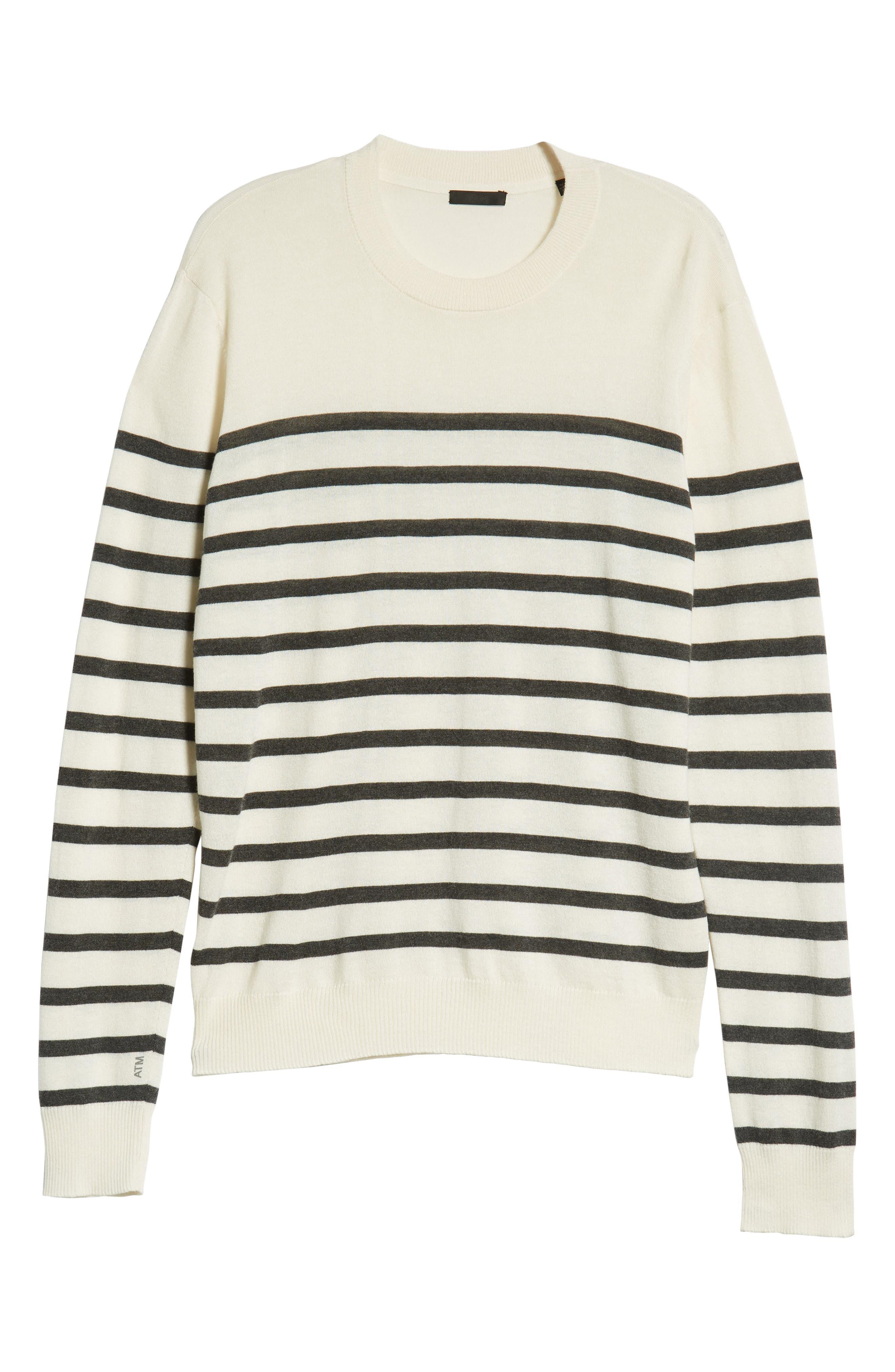 ATM ANTHONY THOMAS MELILLO,                             Sailor Stripe Silk Blend Sweater,                             Alternate thumbnail 6, color,                             CHALK/ CHARCOAL COMBO