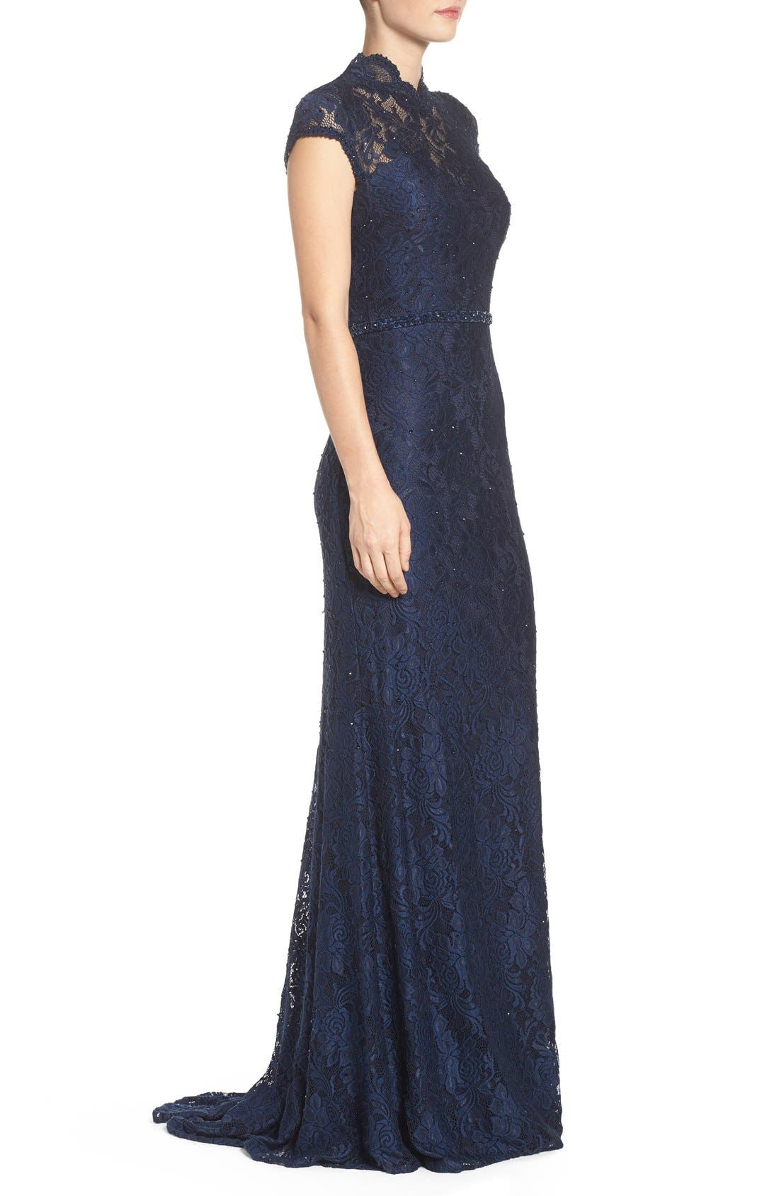 Embellished Lace Gown,                             Alternate thumbnail 10, color,                             NAVY