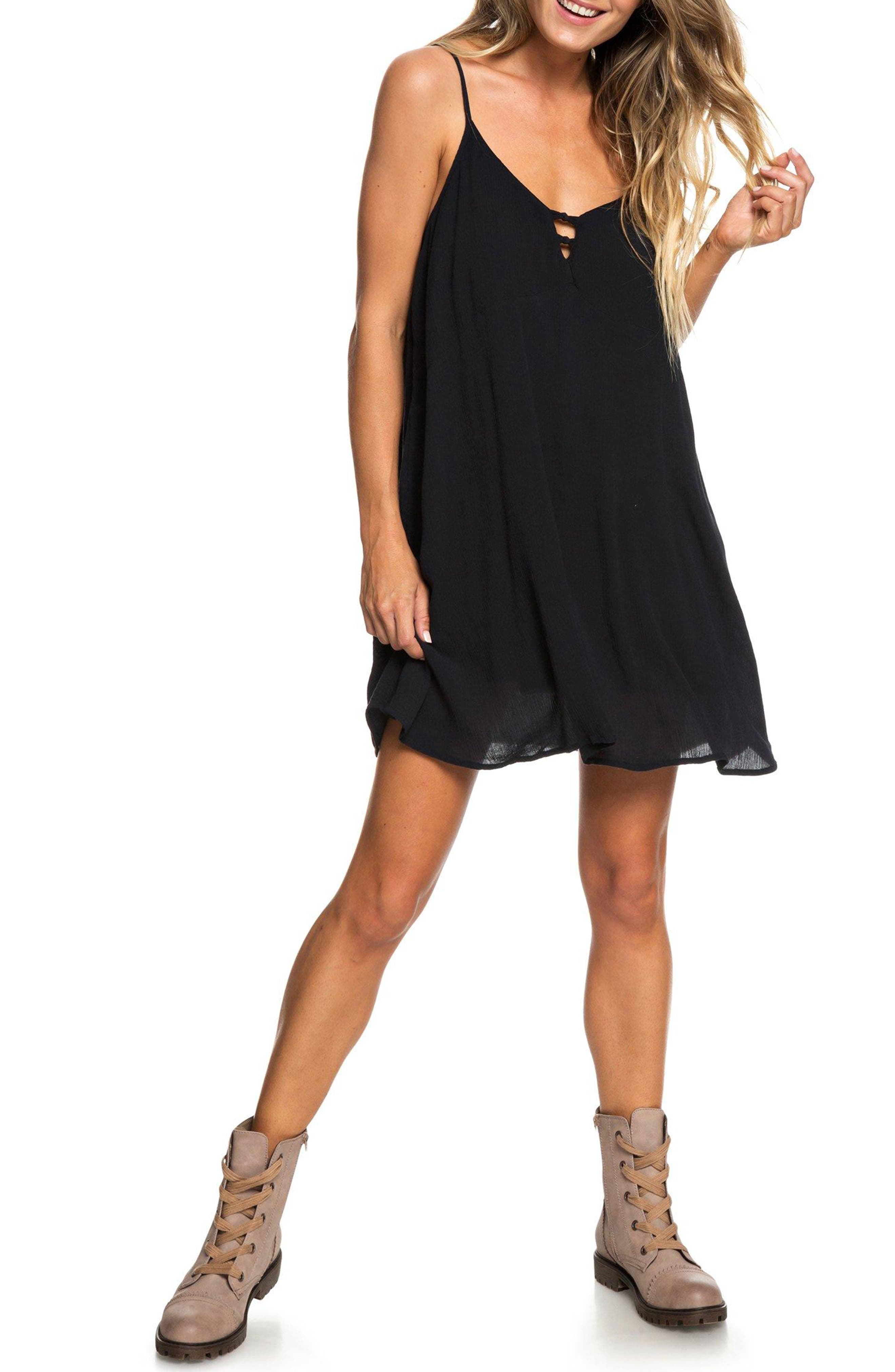 Full Bloom Swing Dress,                             Main thumbnail 1, color,                             TRUE BLACK