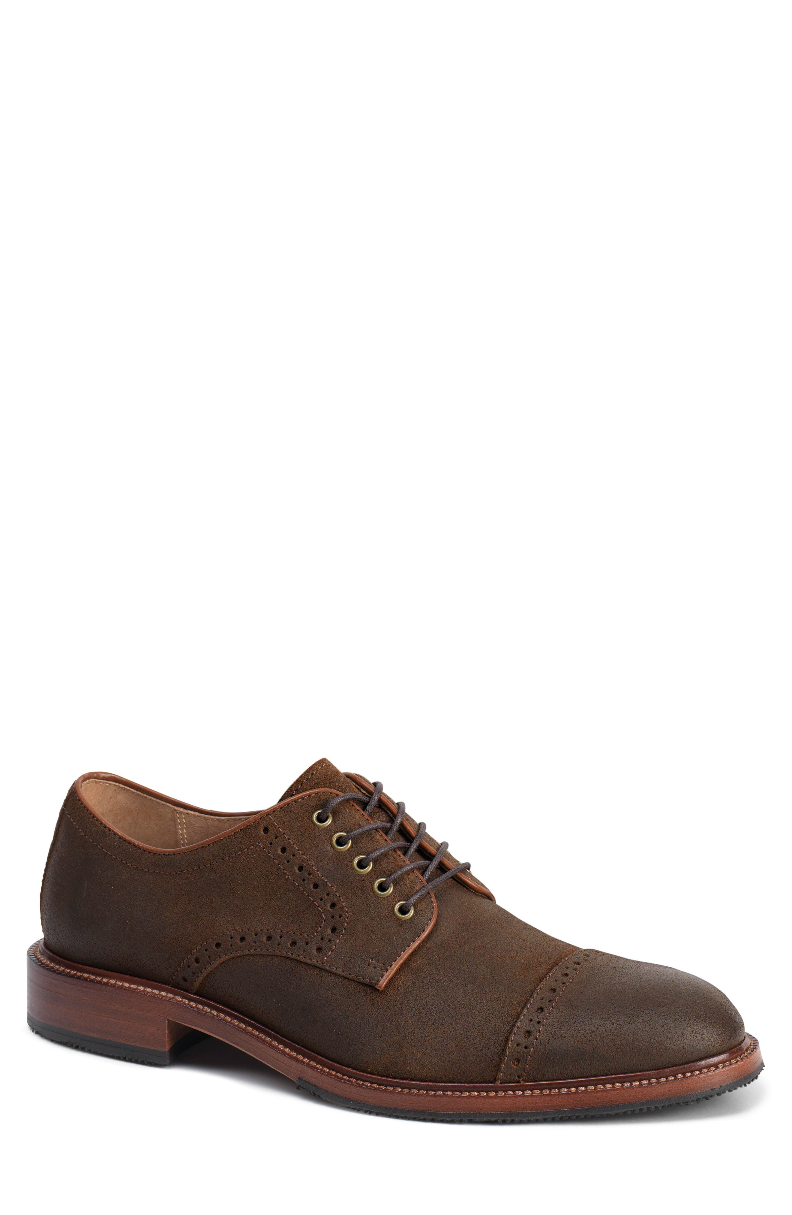 Linwood Cap Toe Derby,                         Main,                         color, BROWN WAXED SUEDE