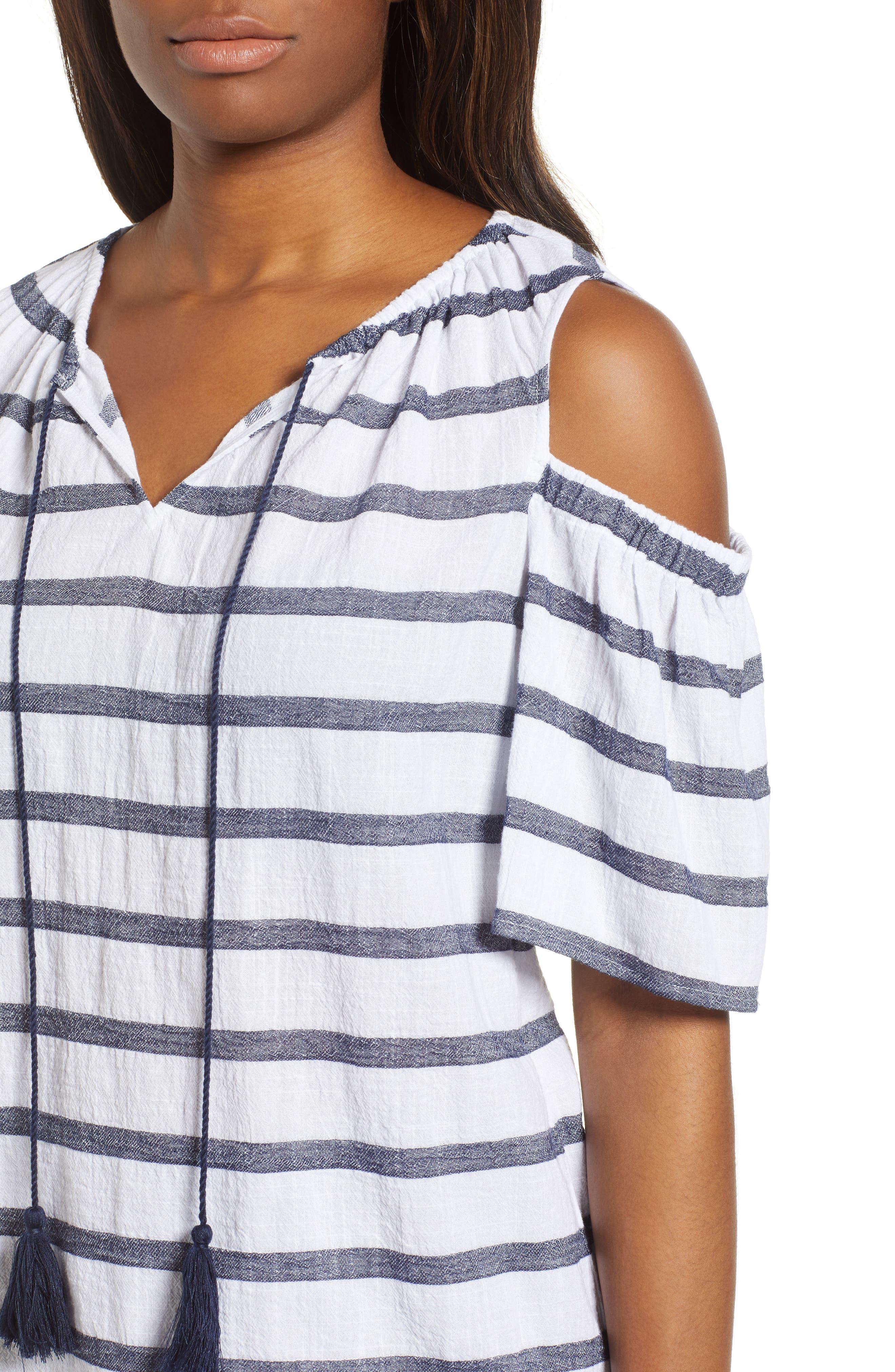 Stripe Cold Shoulder Cotton Gauze Top,                             Alternate thumbnail 4, color,                             NEW IVORY