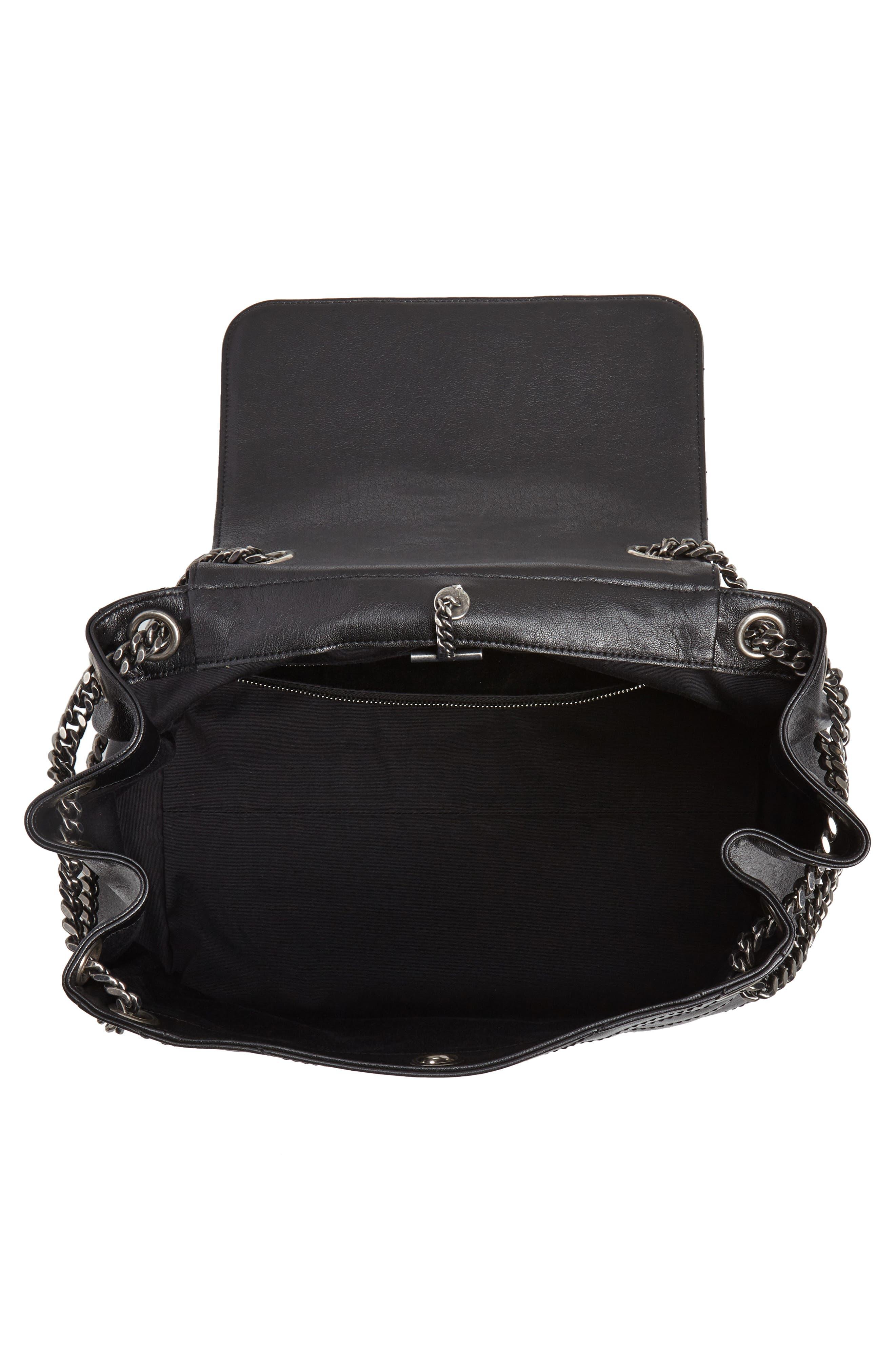 Nolita Large Leather Shoulder Bag,                             Alternate thumbnail 4, color,                             NOIR