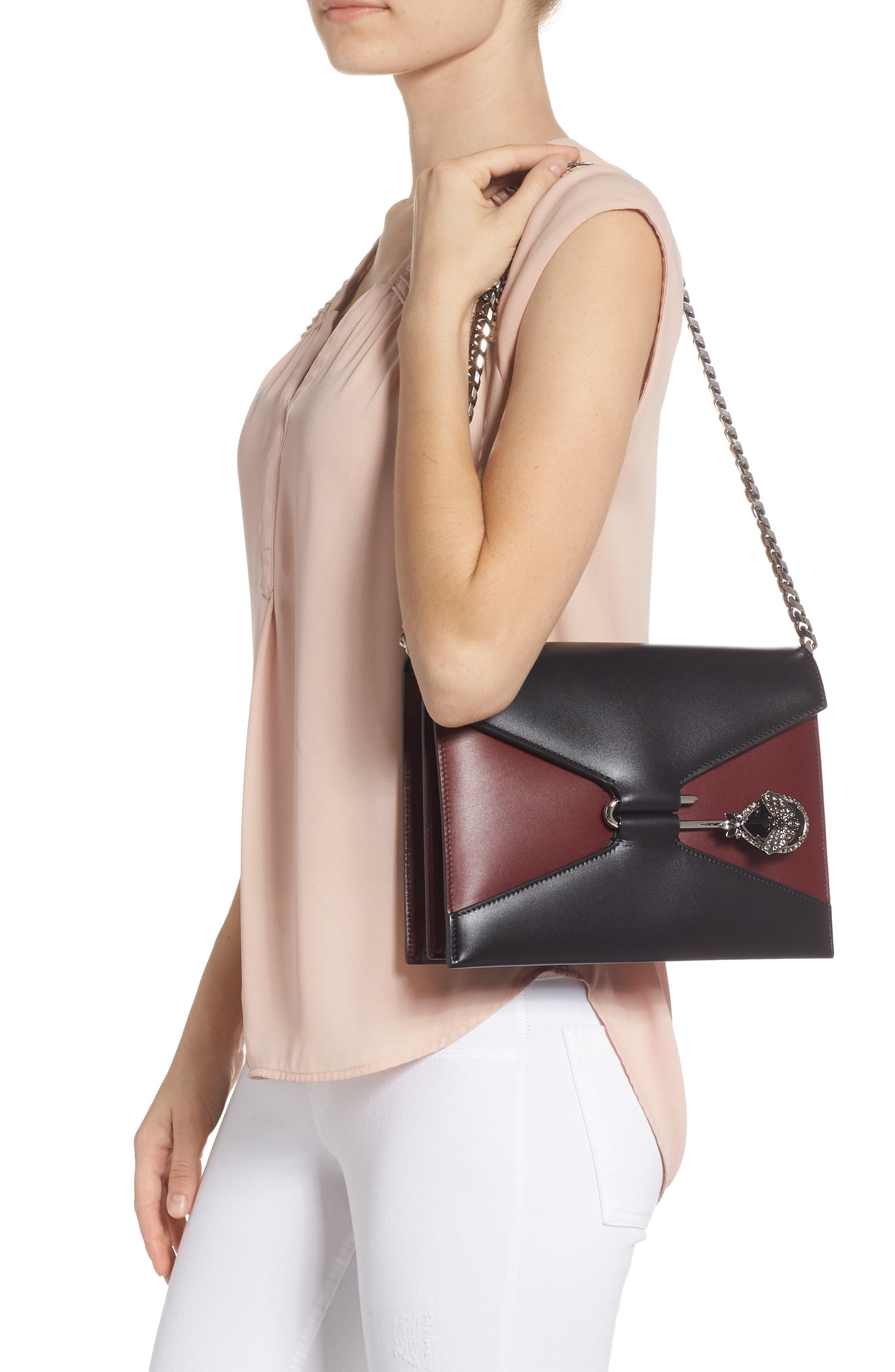 Pin Calfskin Leather Shoulder Bag,                             Alternate thumbnail 2, color,