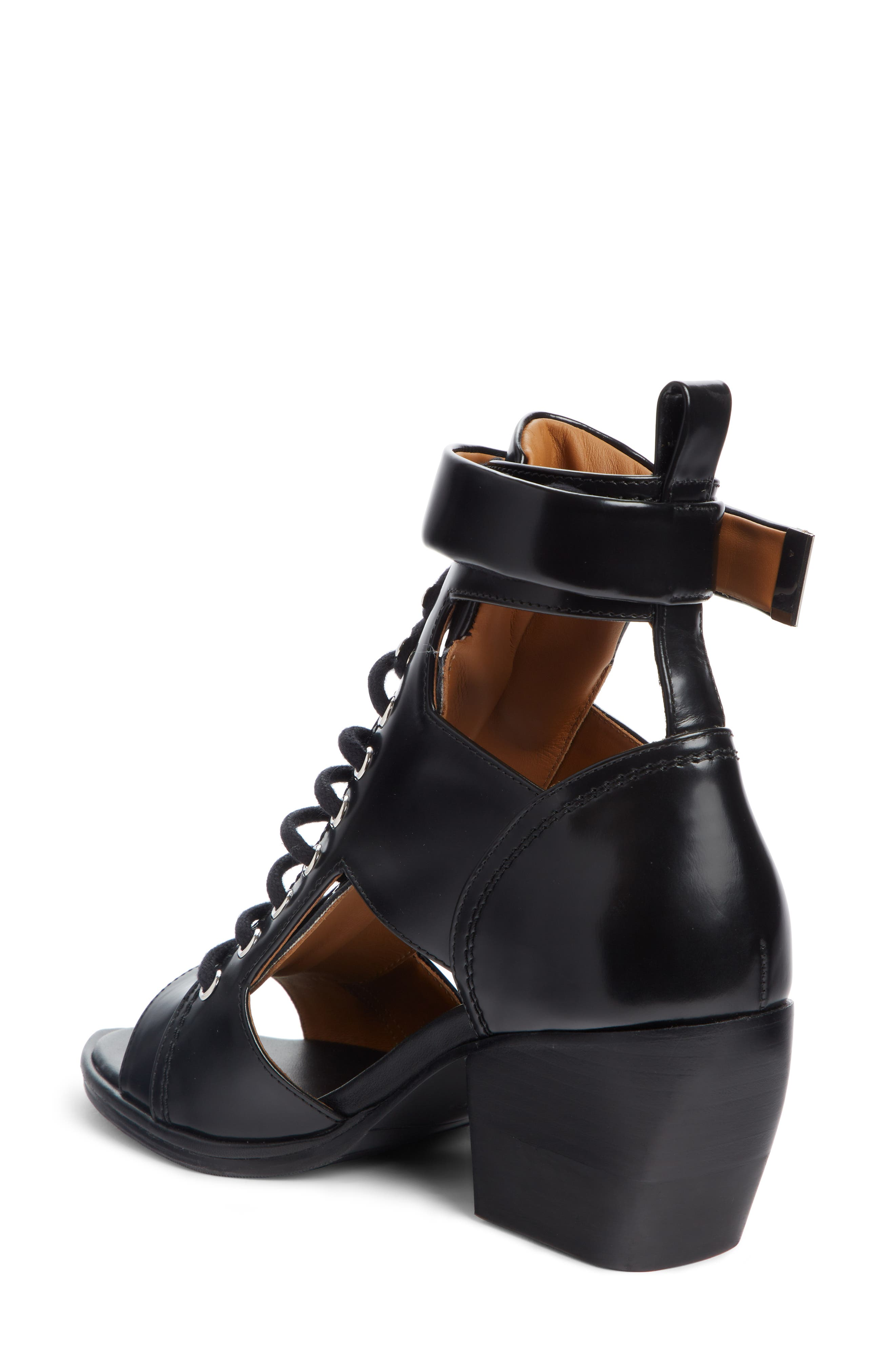 CHLOÉ,                             Rylee Cutout Open Toe Boot,                             Alternate thumbnail 2, color,                             BLACK LEATHER