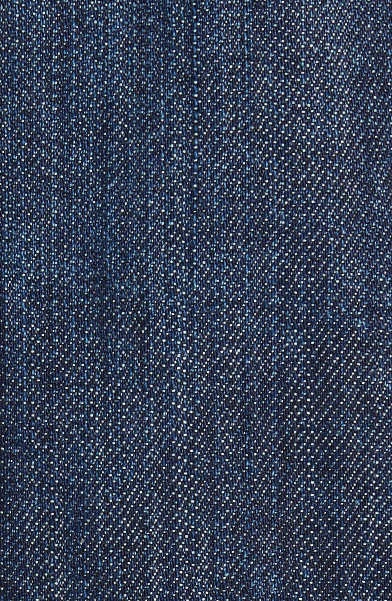 Stretch Denim Moto Jacket with Removable Genuine Lamb Fur Collar,                             Alternate thumbnail 6, color,                             403