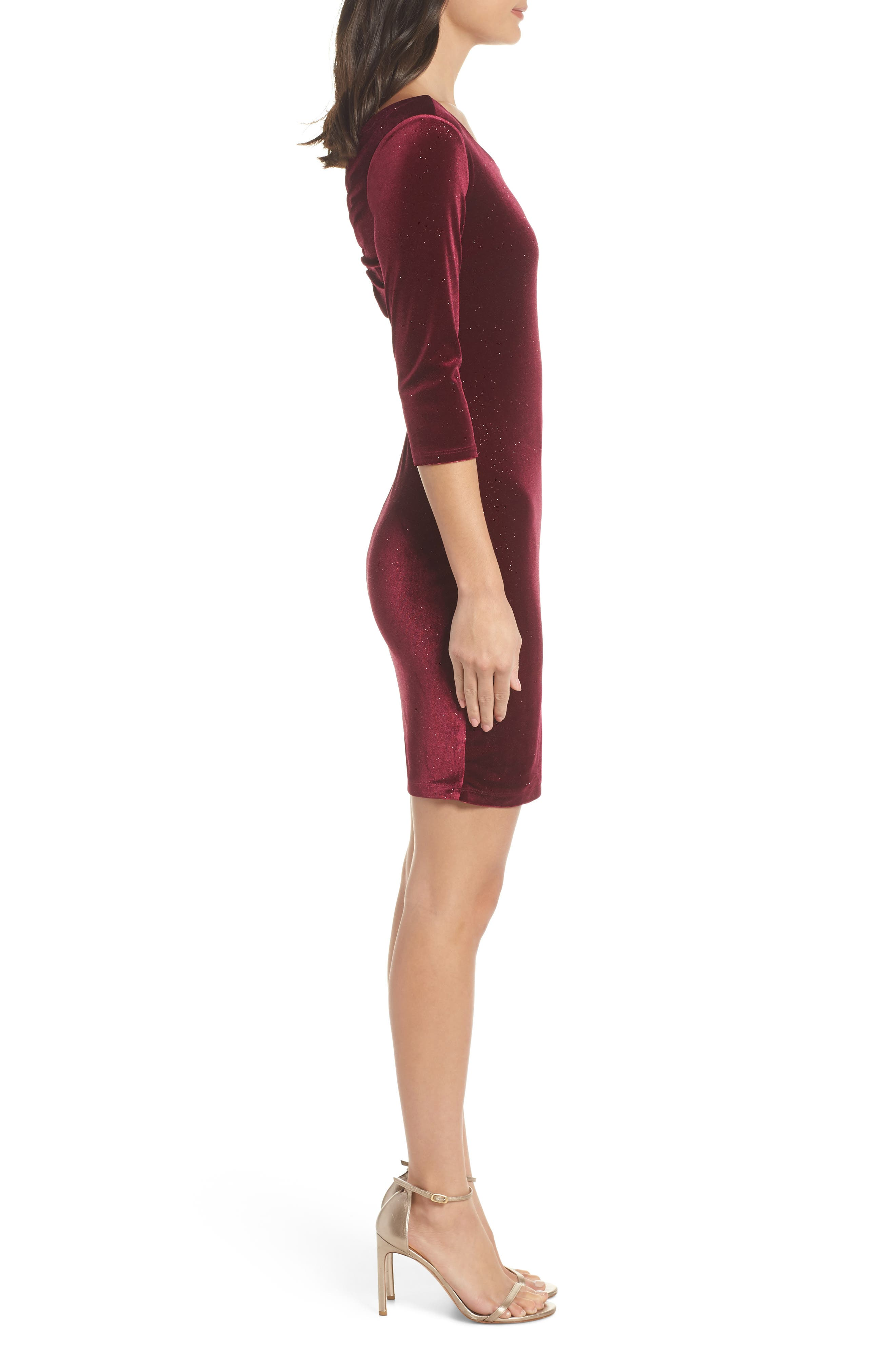 SEQUIN HEARTS,                             Glitter Velvet Body-Con Sheath,                             Alternate thumbnail 4, color,                             WINE