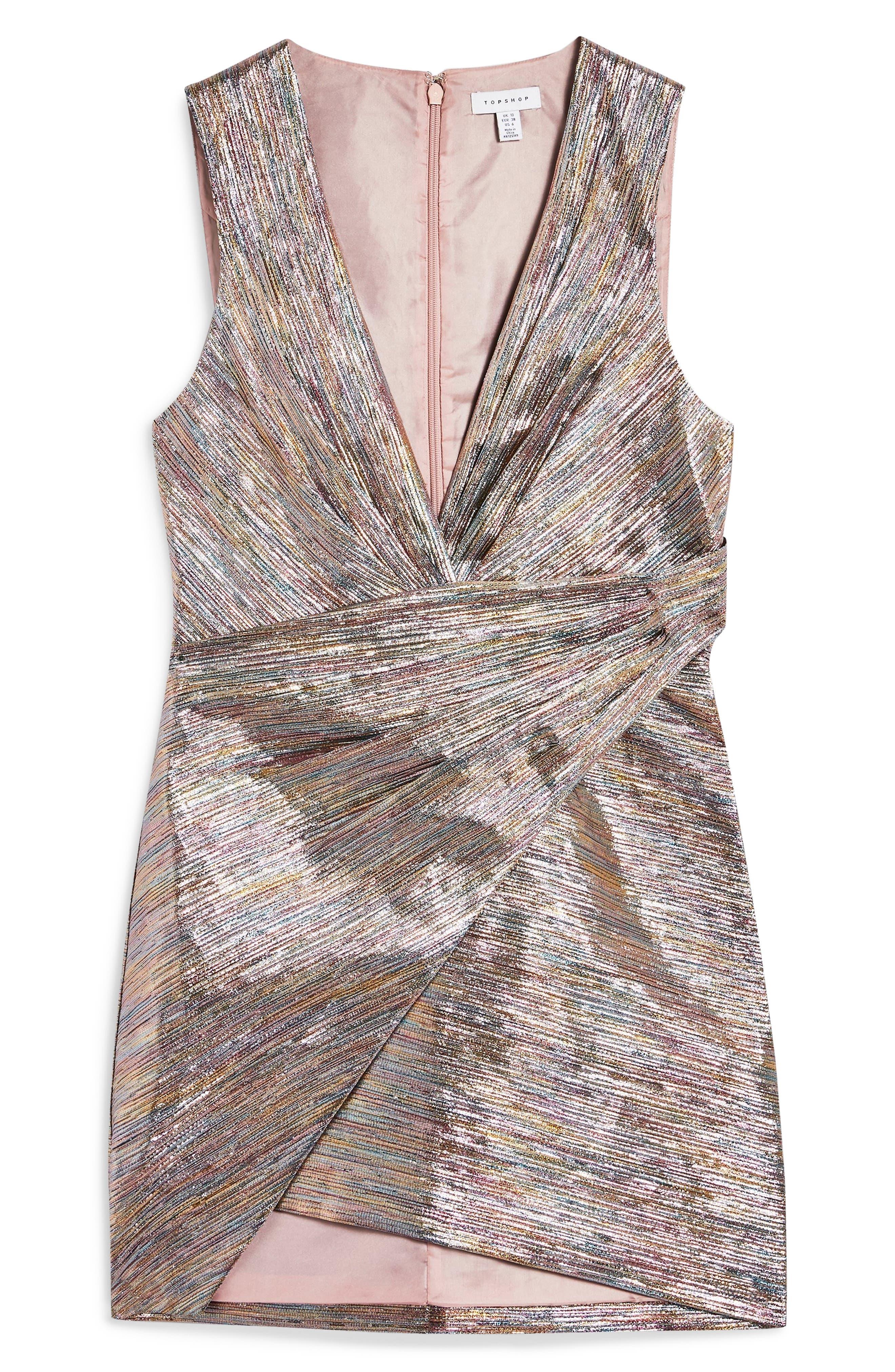 Metallic Wrap Dress,                             Alternate thumbnail 4, color,                             SILVER MULTI