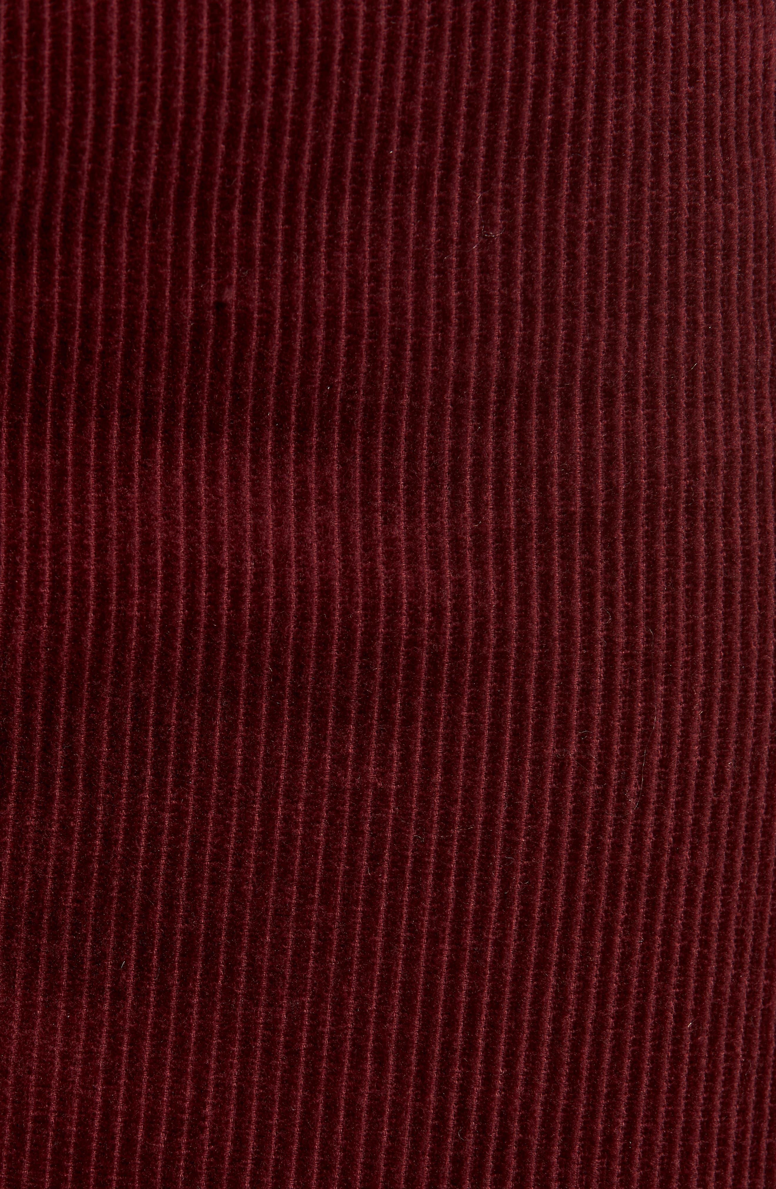 Corduroy A-Line Miniskirt,                             Alternate thumbnail 5, color,                             MERLOT