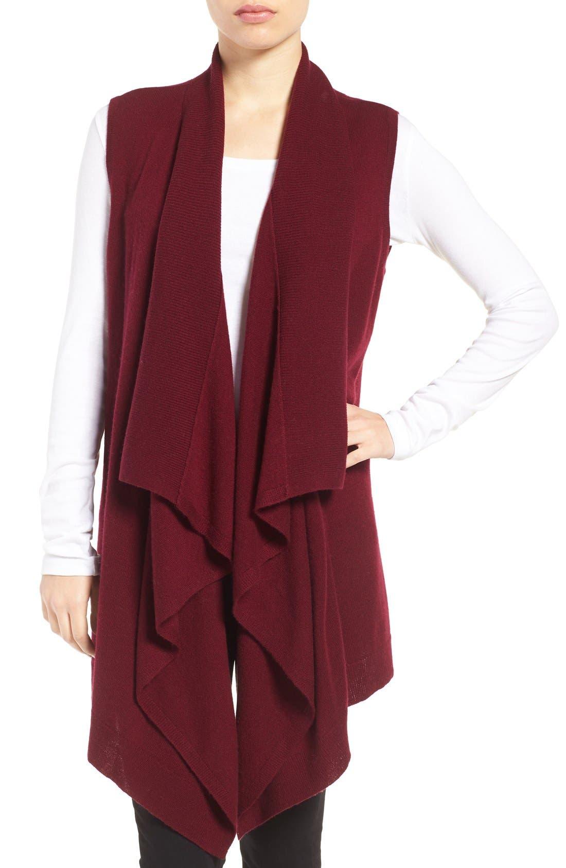Wool & Cashmere Drape Front Sweater Vest,                             Main thumbnail 8, color,