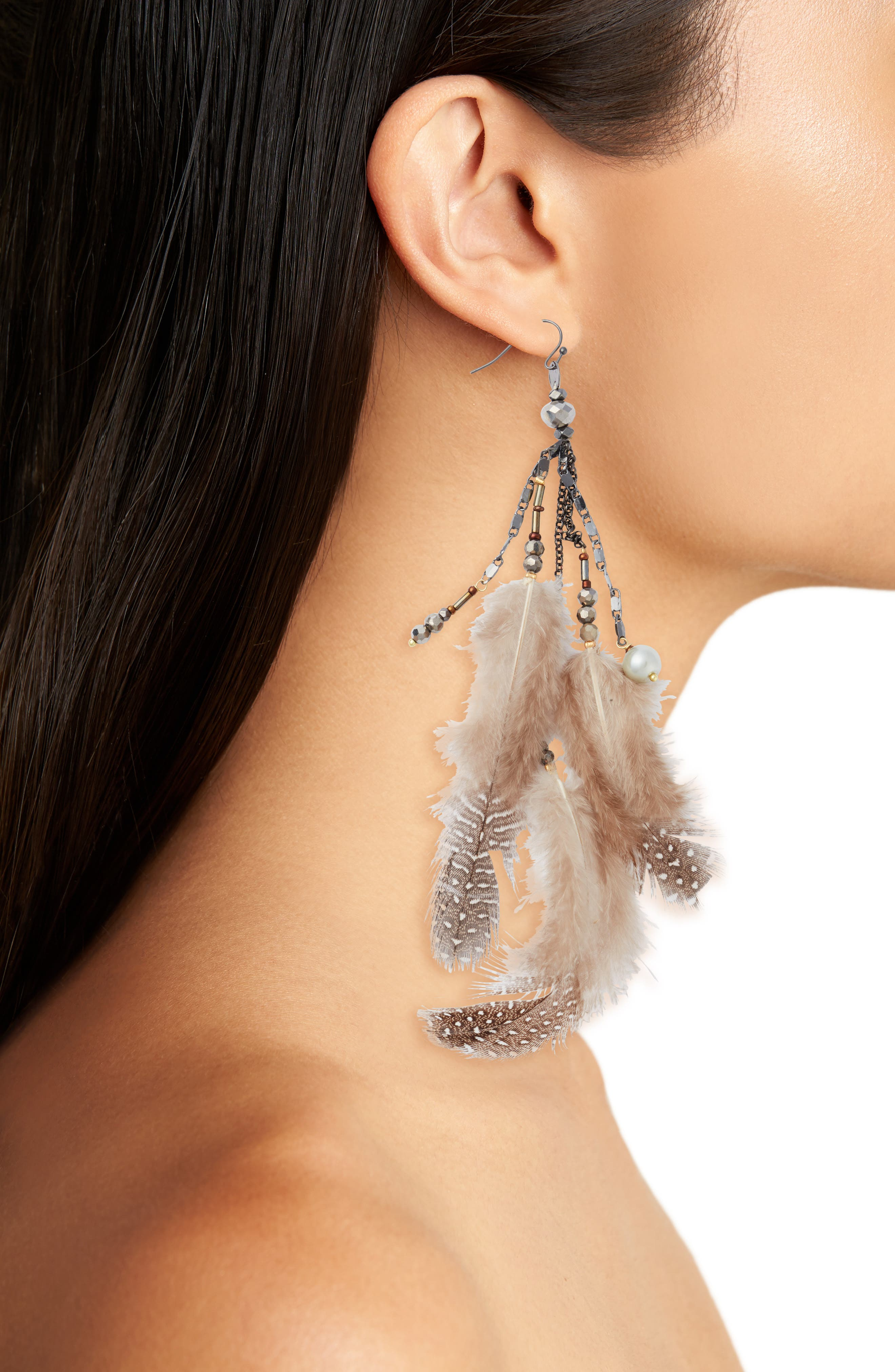 Small Feather Drop Earrings,                             Alternate thumbnail 2, color,                             100