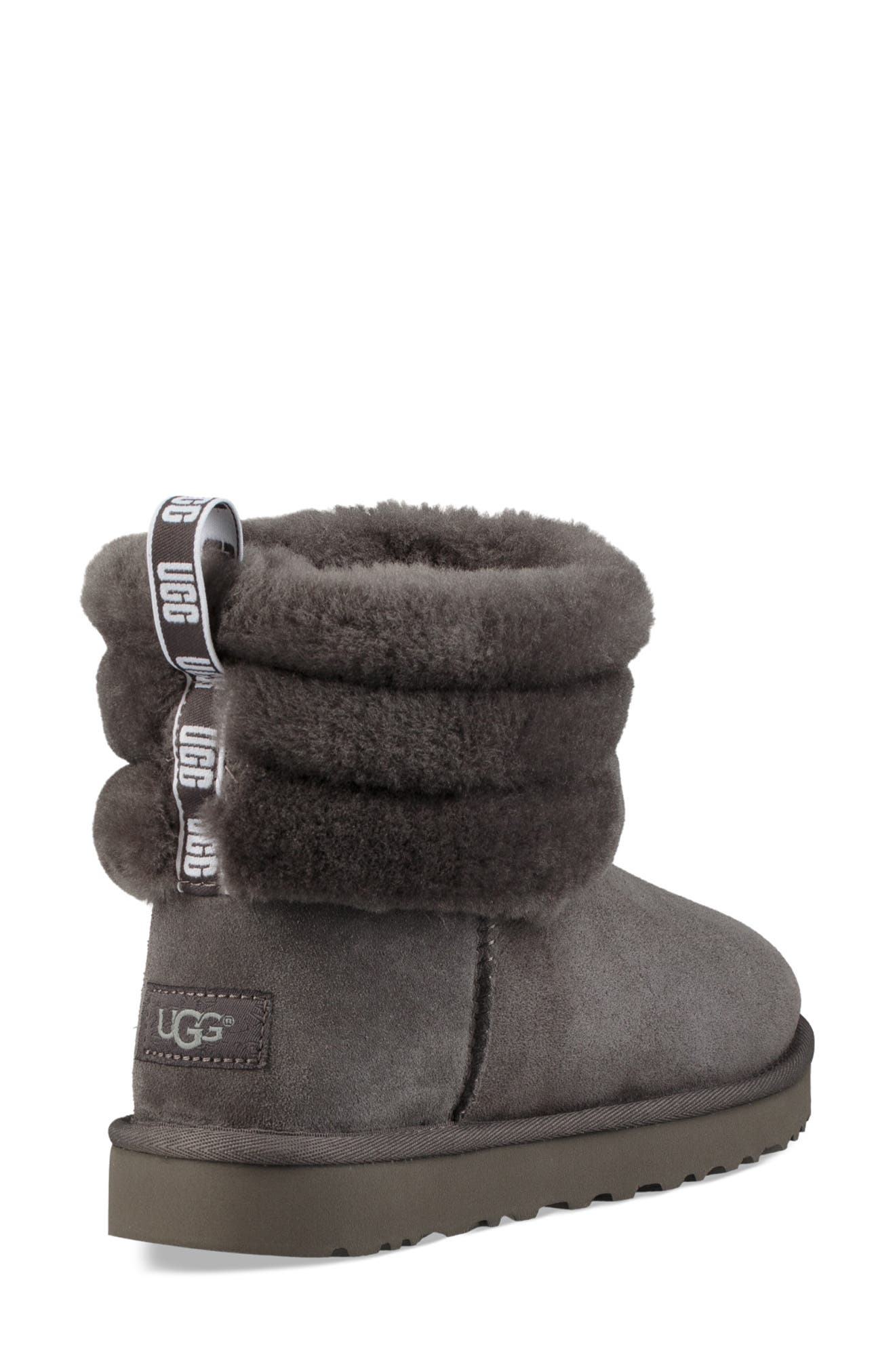 Classic Mini Fluff Quilted Boot,                             Alternate thumbnail 2, color,                             CHARCOAL SUEDE