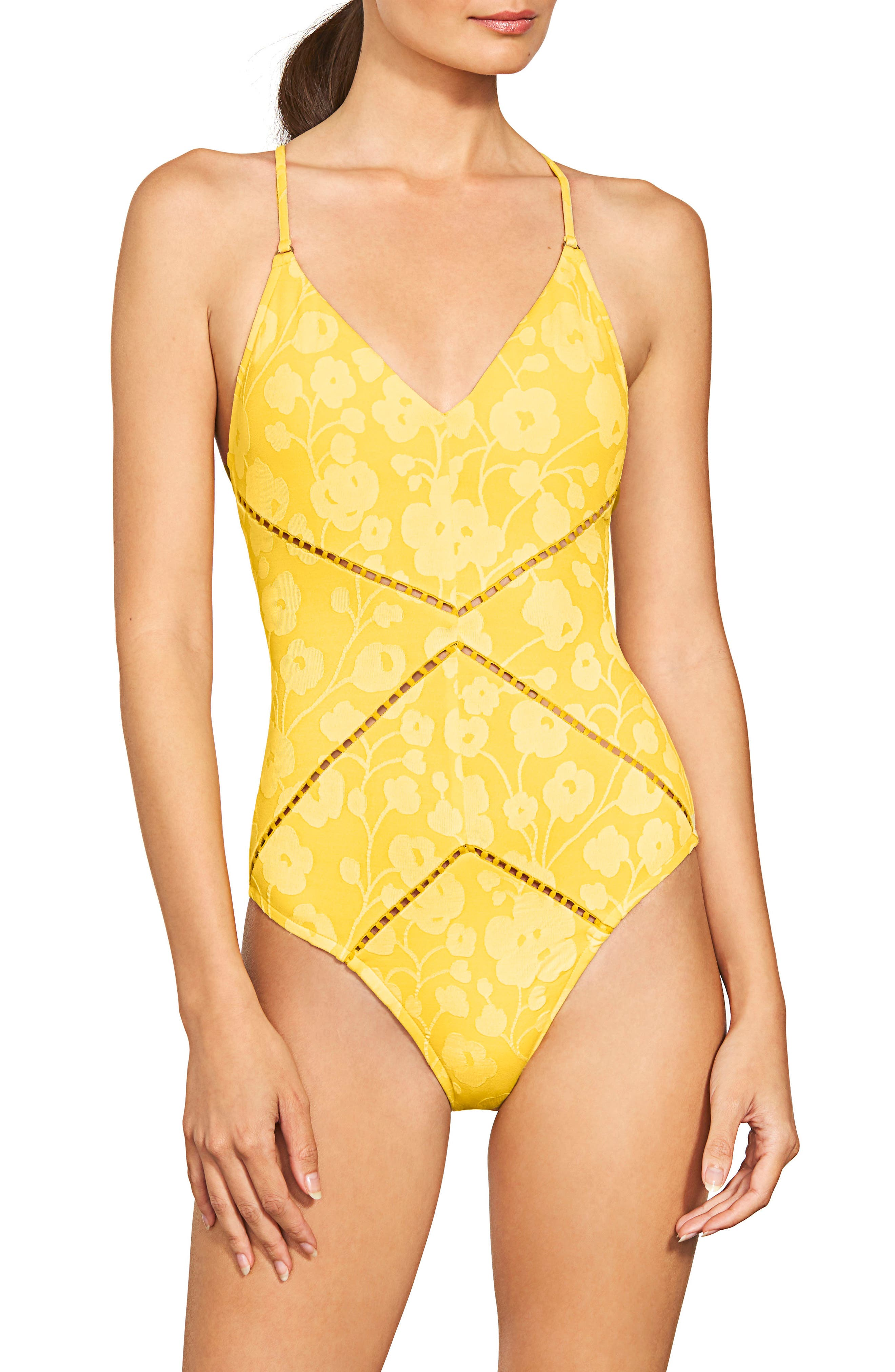 Tie Back One-Piece Swimsuit,                         Main,                         color, MARIGOLD