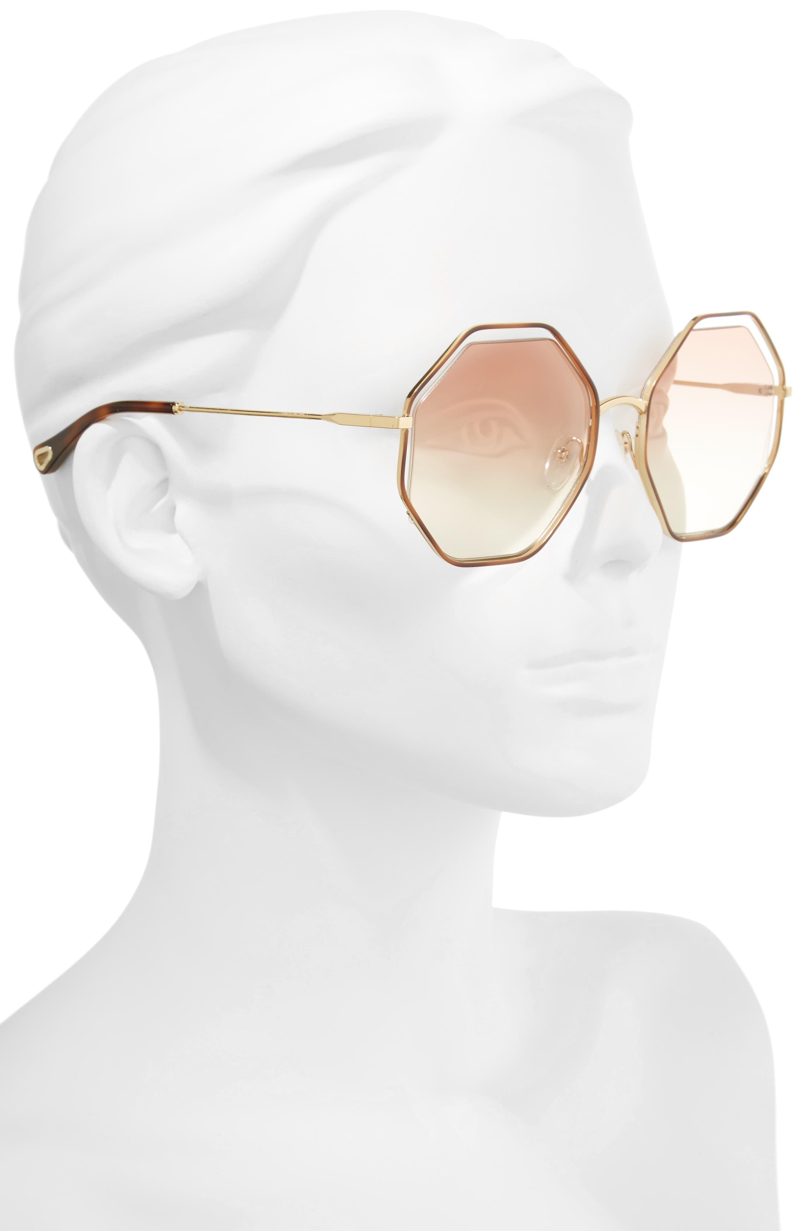 58mm Octagonal Halo Lens Sunglasses,                             Alternate thumbnail 2, color,                             HAVANA/ PEACH