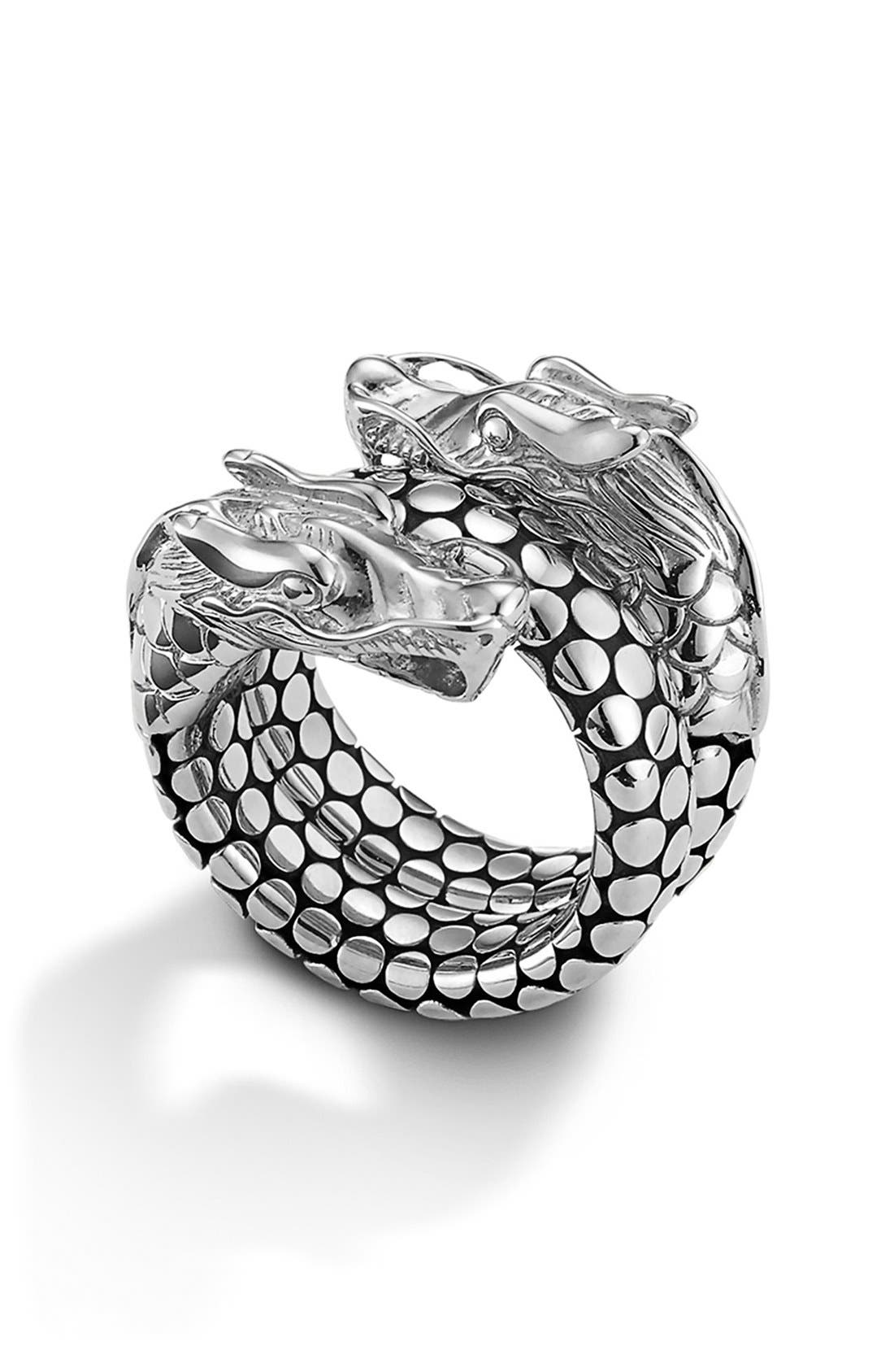 'Legends' Dragon Coil Ring,                             Alternate thumbnail 3, color,                             STERLING SILVER