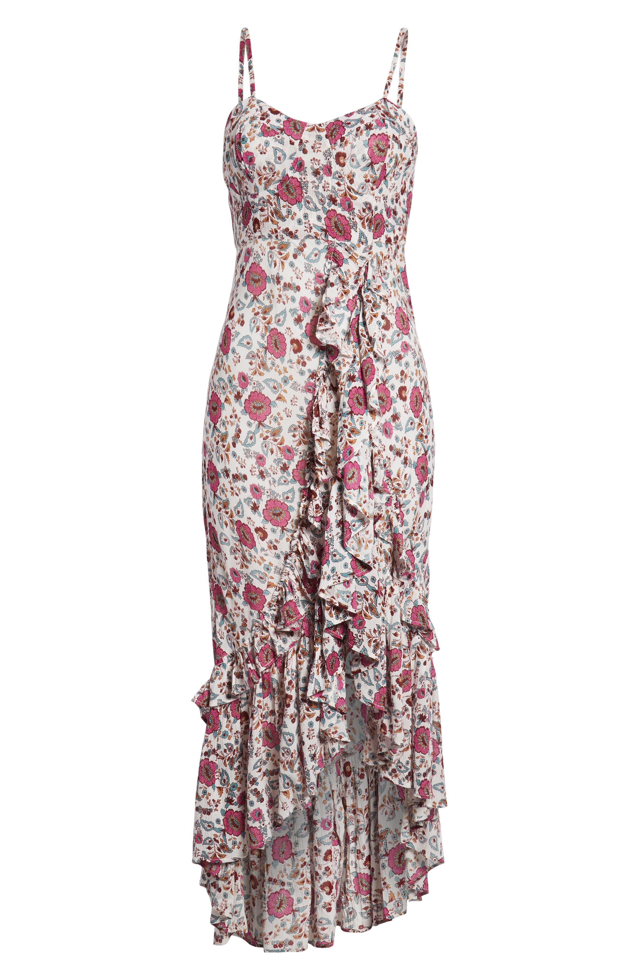 Summer Bloom Ruffle Hem High/Low Dress,                             Alternate thumbnail 7, color,                             PINK