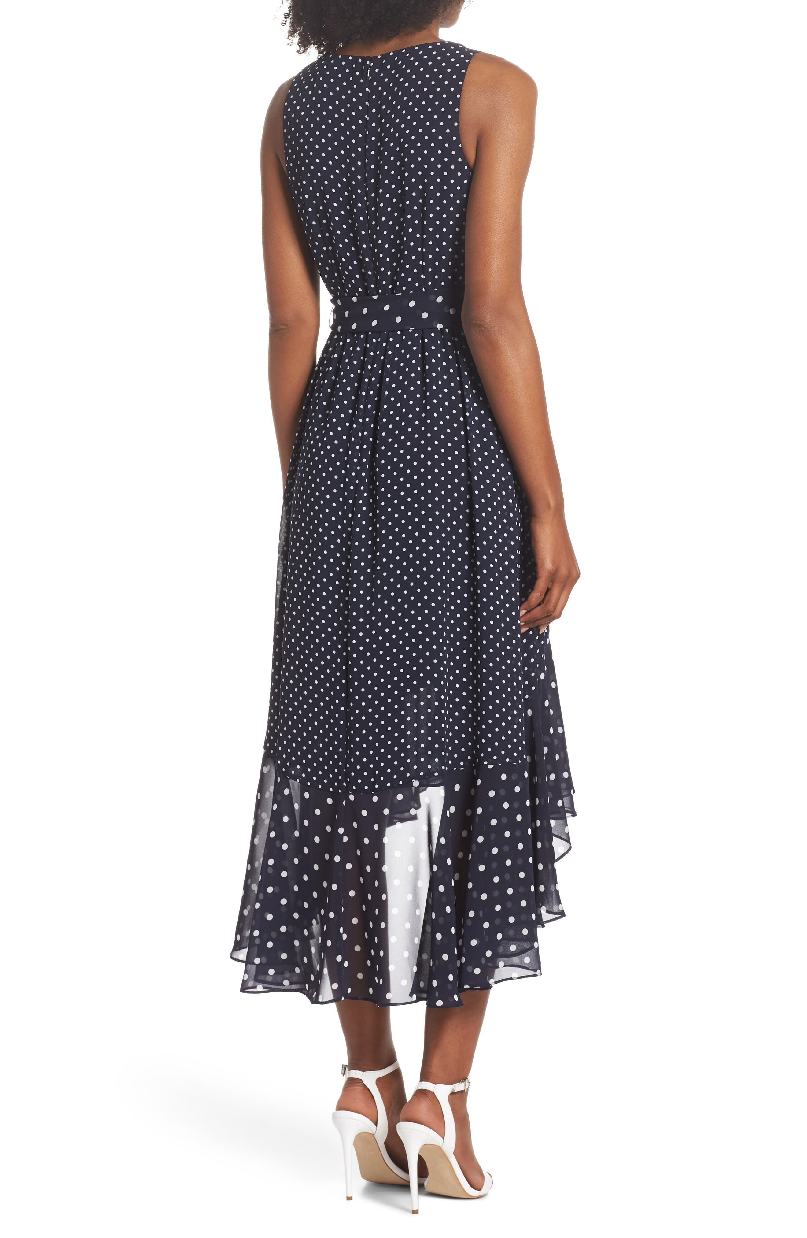 ELIZA J,                             Polka Dot High/Low Hem Dress,                             Alternate thumbnail 2, color,                             407