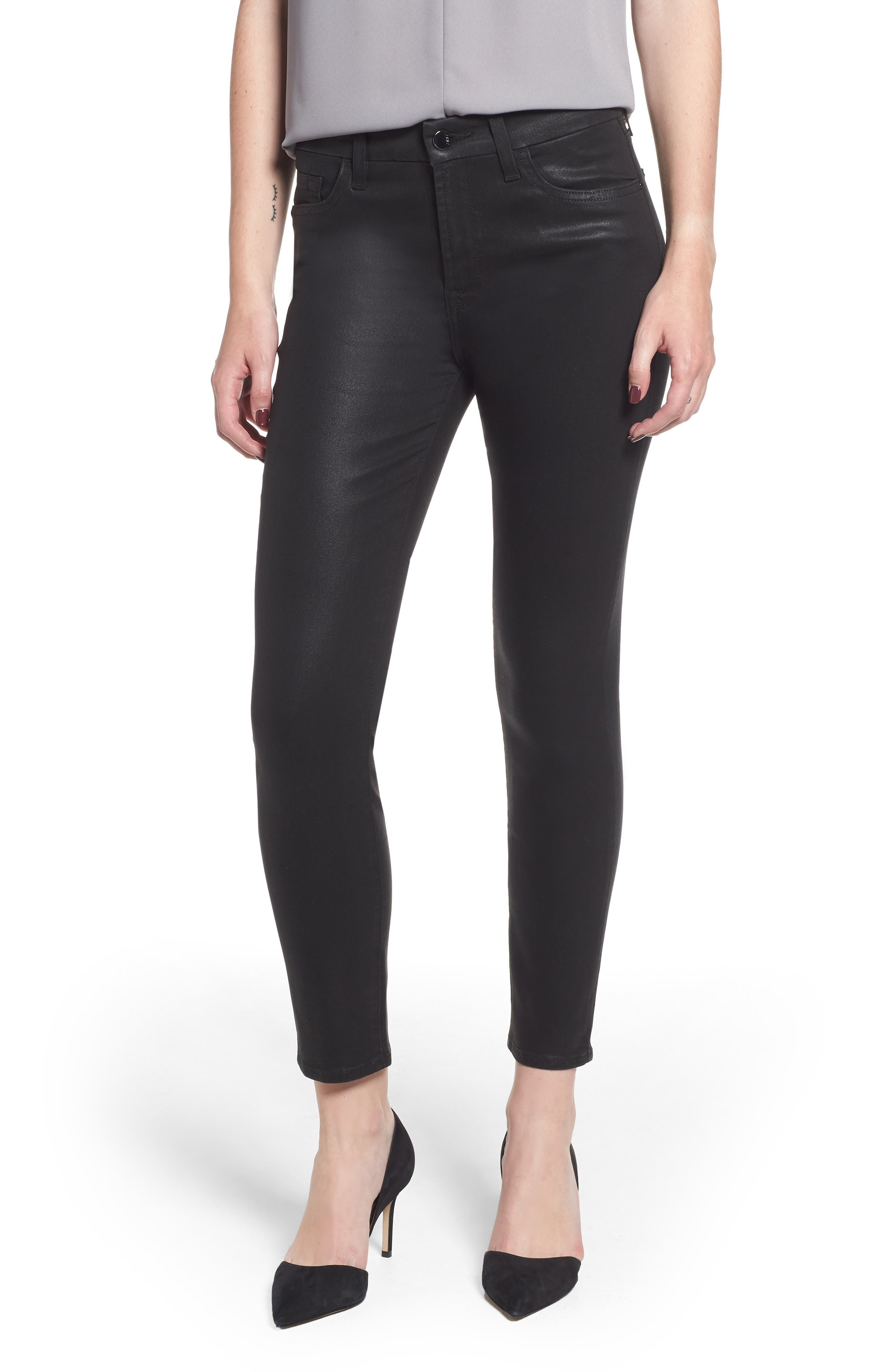 JEN7 Riche Touch Coated Ankle Skinny Jeans in Riche Touch Black Crystals