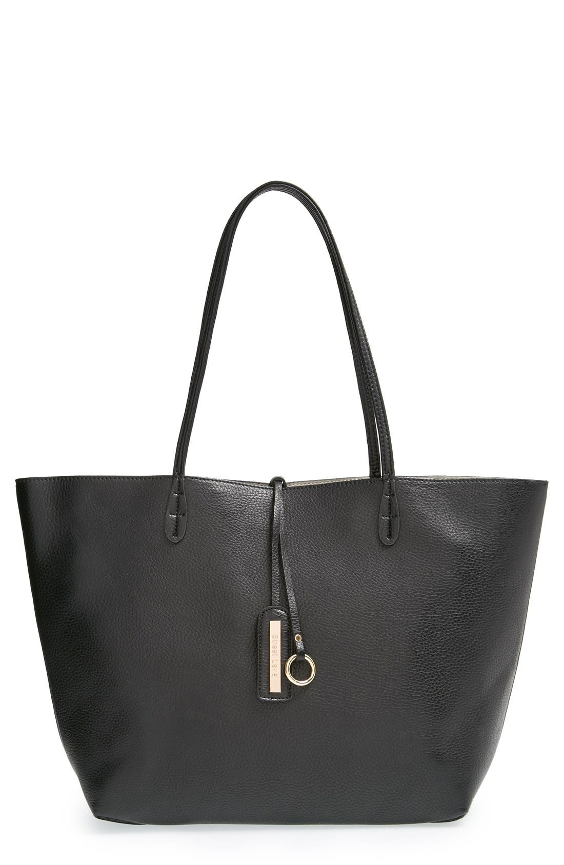 Reversible Faux Leather Tote,                         Main,                         color, 001