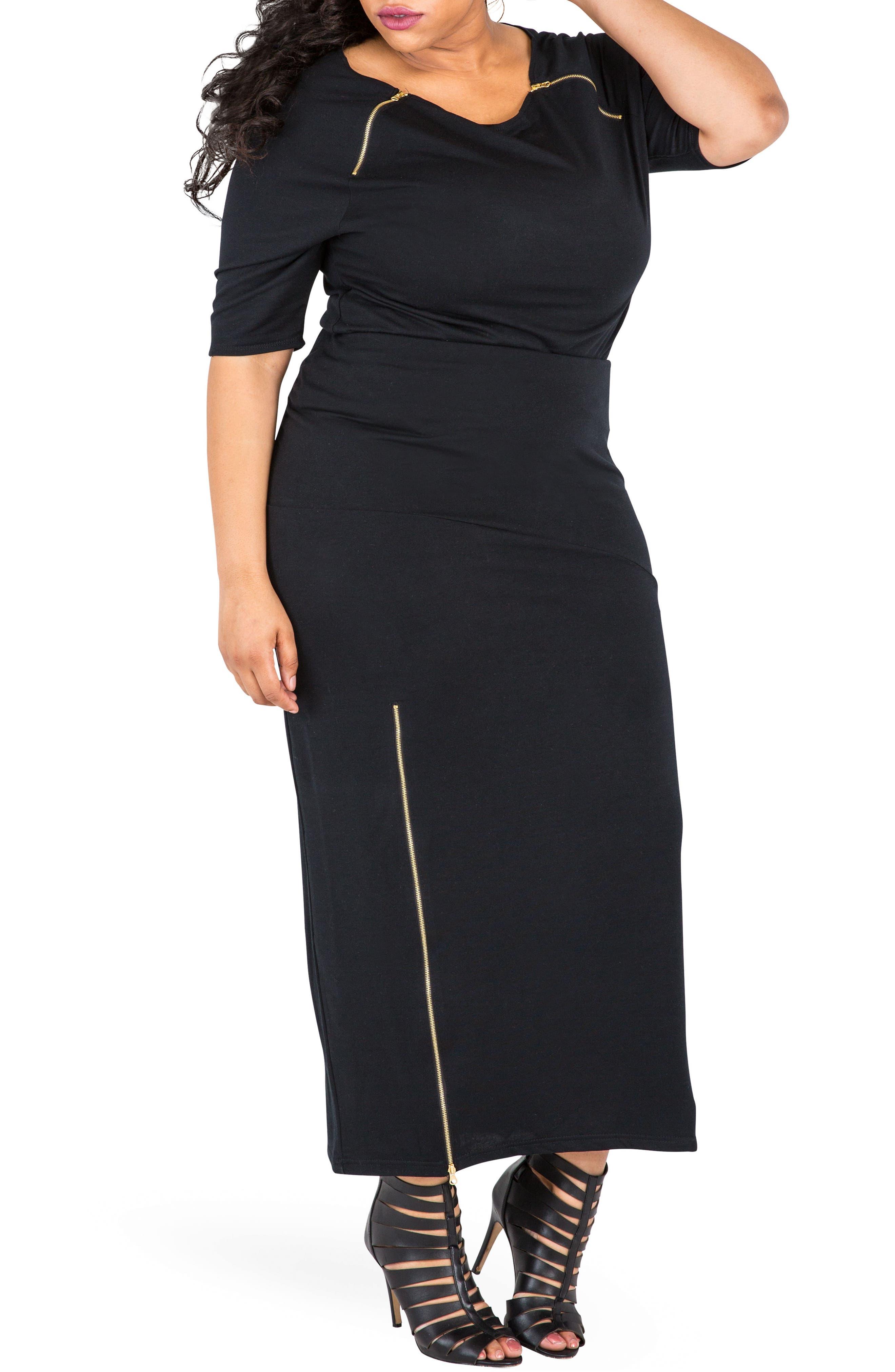 Kandi Zip Slit Maxi Skirt,                             Alternate thumbnail 2, color,                             BLACK