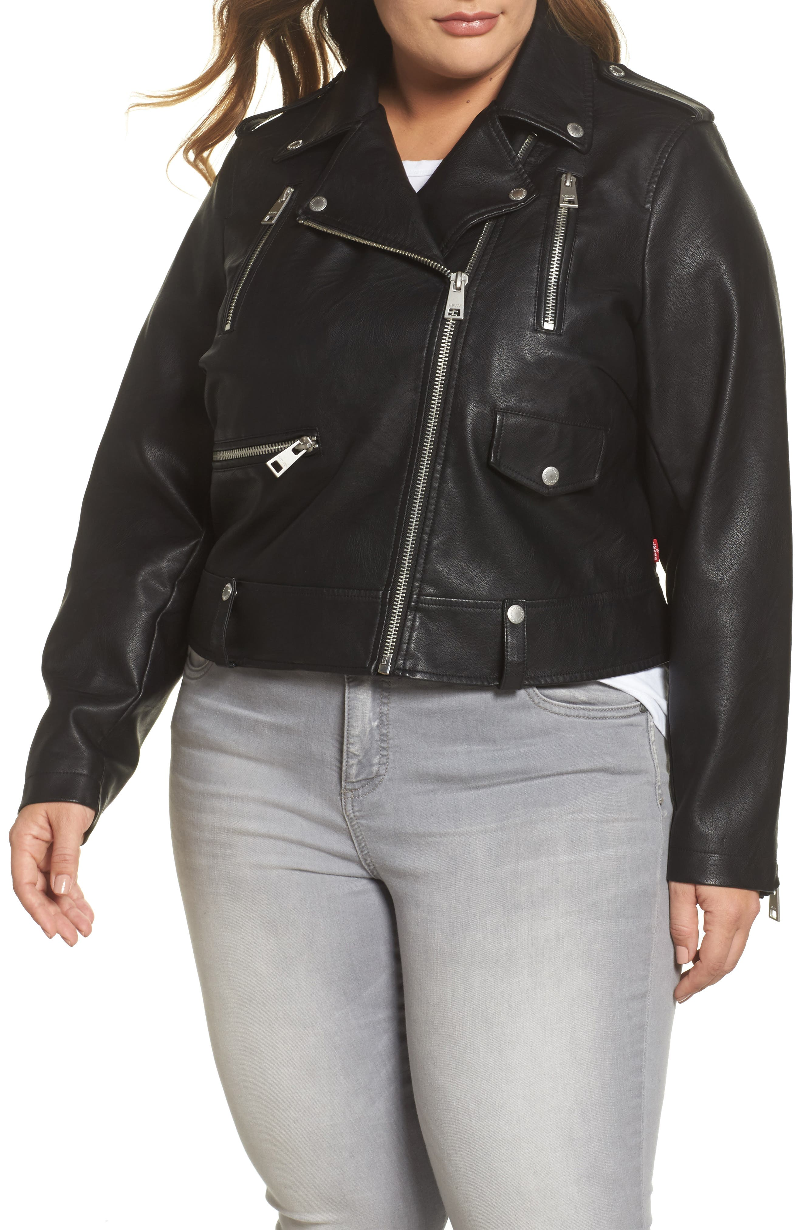 Lamb Touch Faux Leather Moto Jacket,                             Alternate thumbnail 4, color,                             BLACK